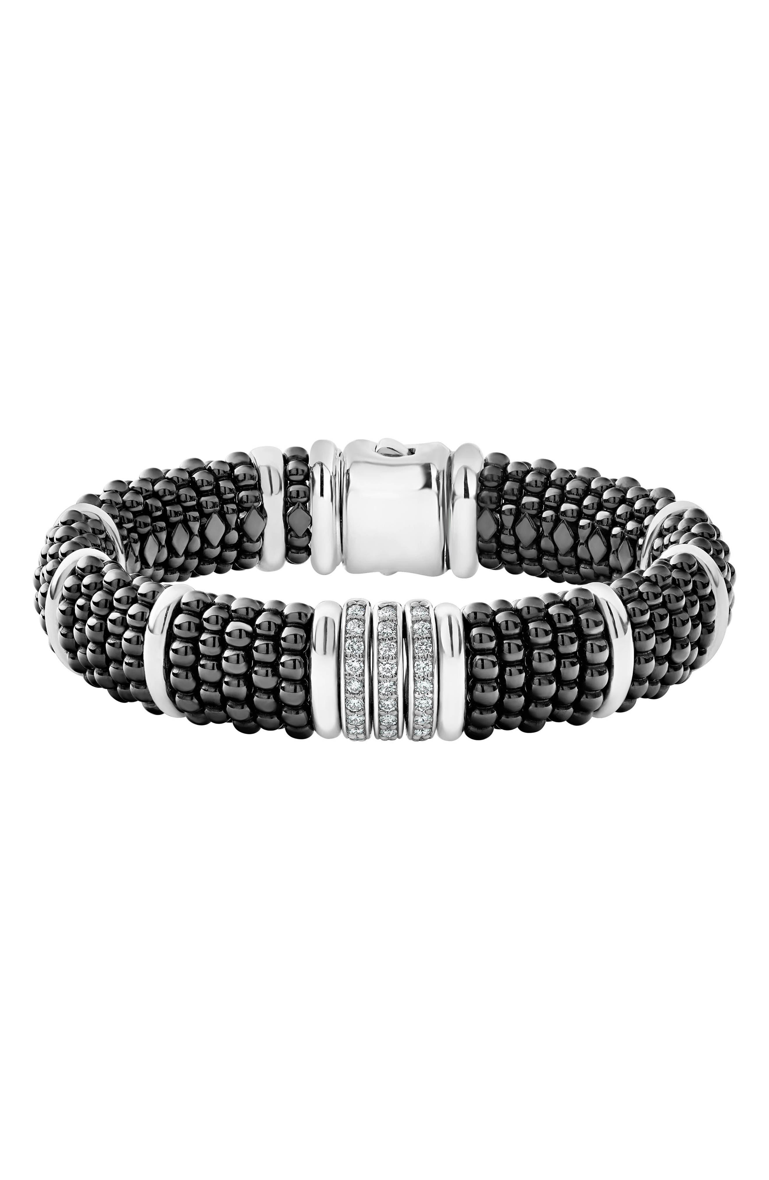 LAGOS Sterling Silver Black Caviar Pave Diamond & Black Ceramic Statement Bracelet