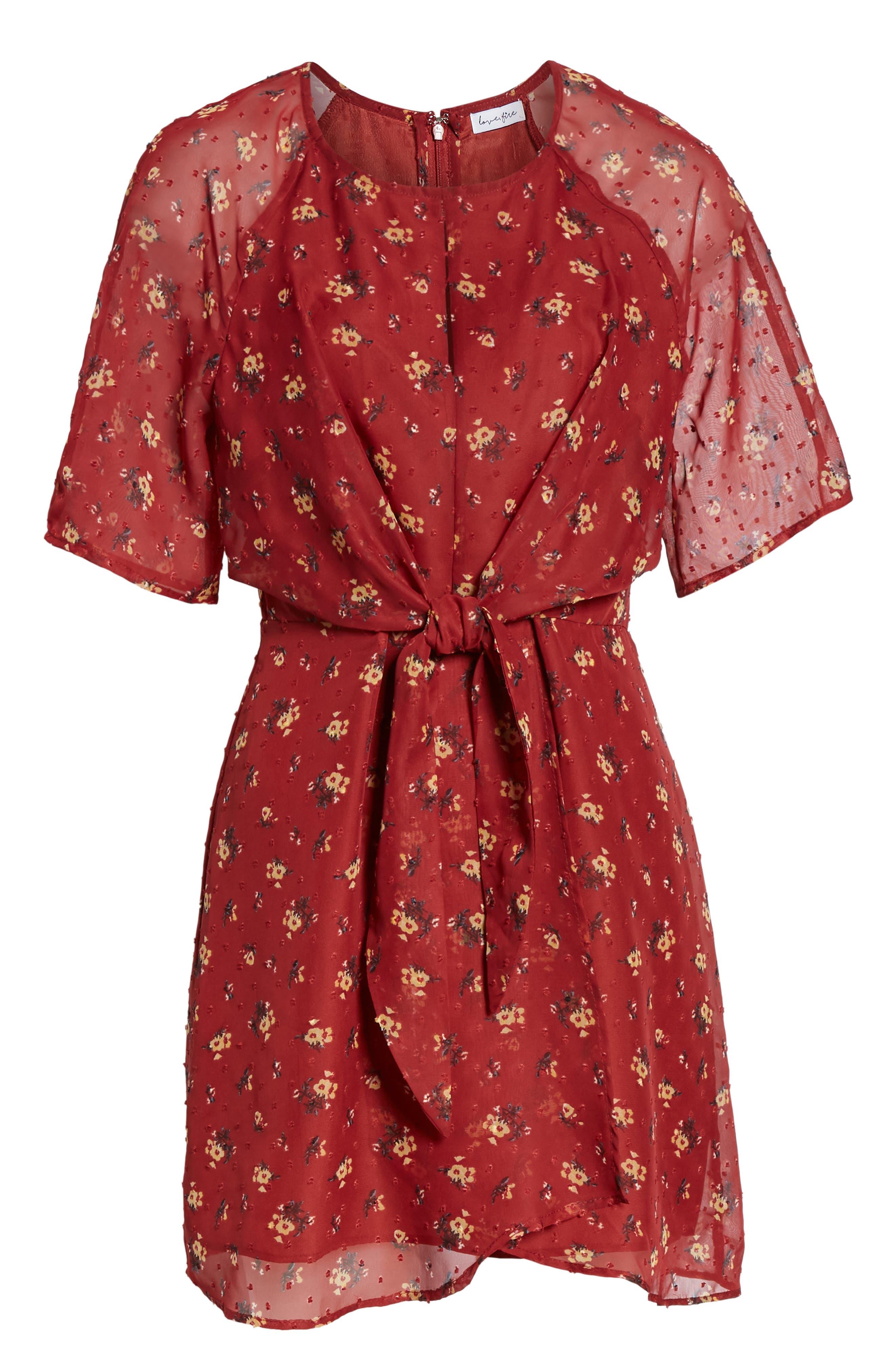 Floral Print Dress,                             Alternate thumbnail 7, color,                             BRICK