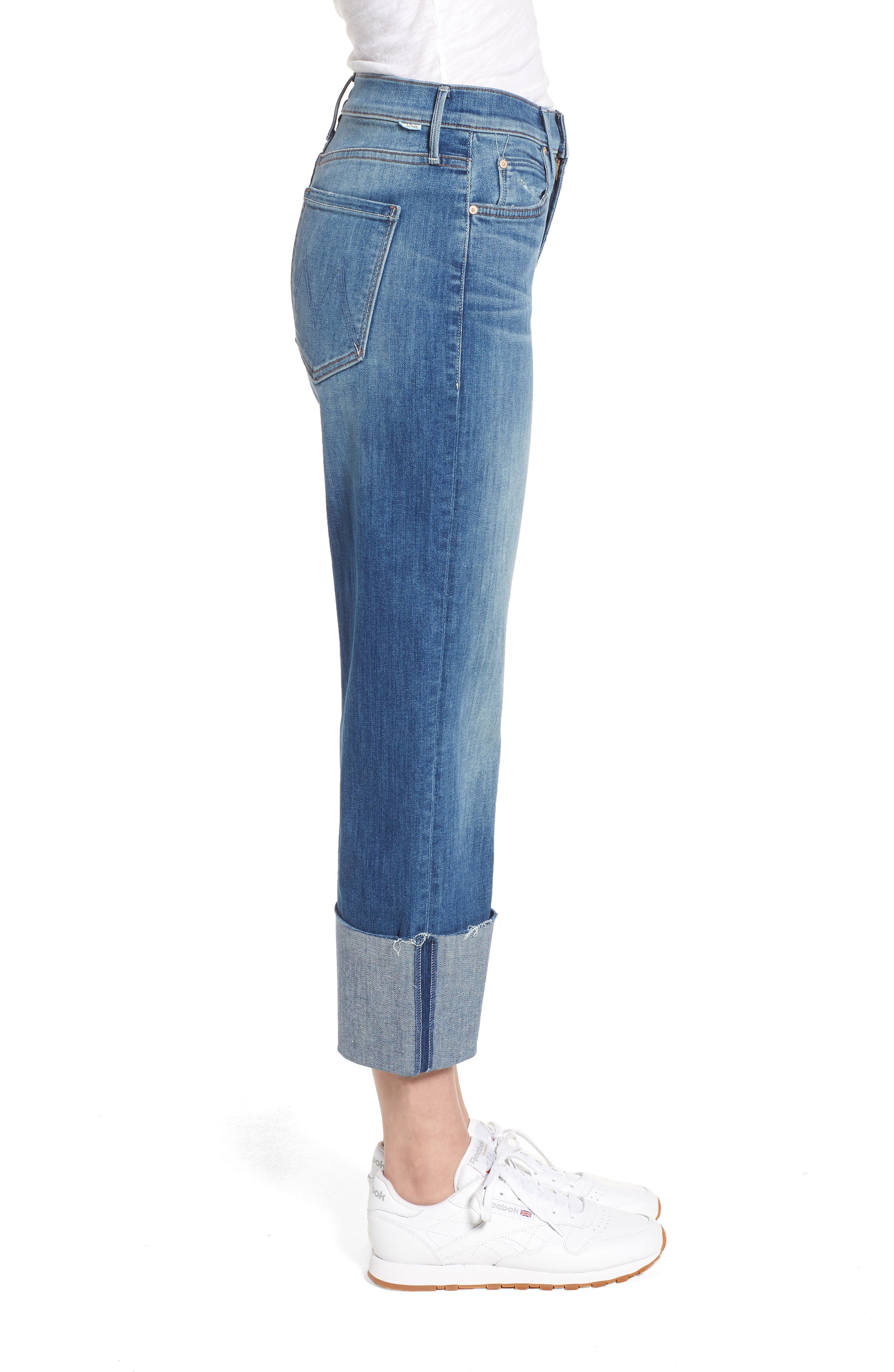 The Dusty Cuff Fray Straight Leg Jeans,                             Alternate thumbnail 3, color,