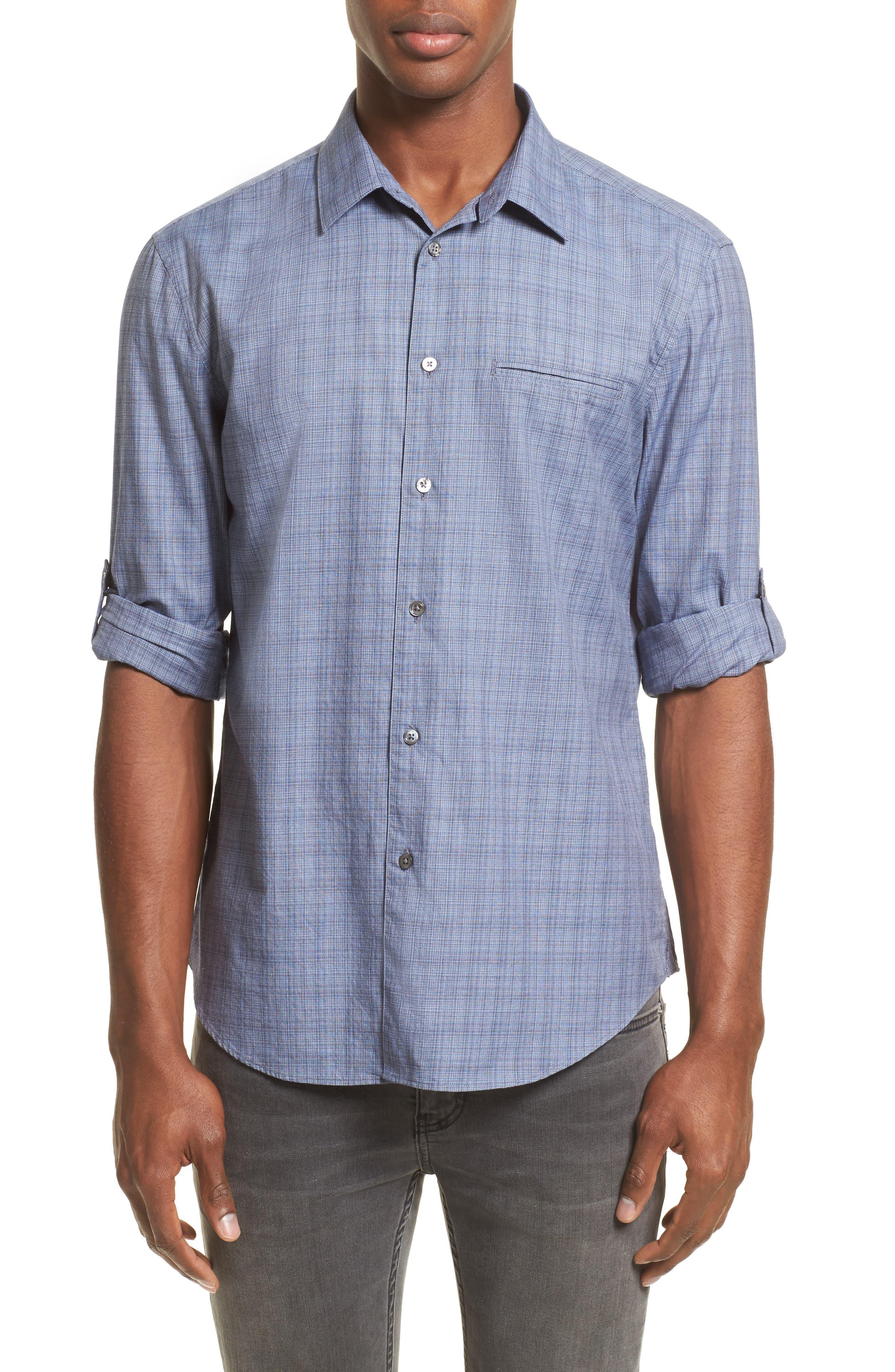 Moiré Check Sport Shirt,                         Main,                         color, 448