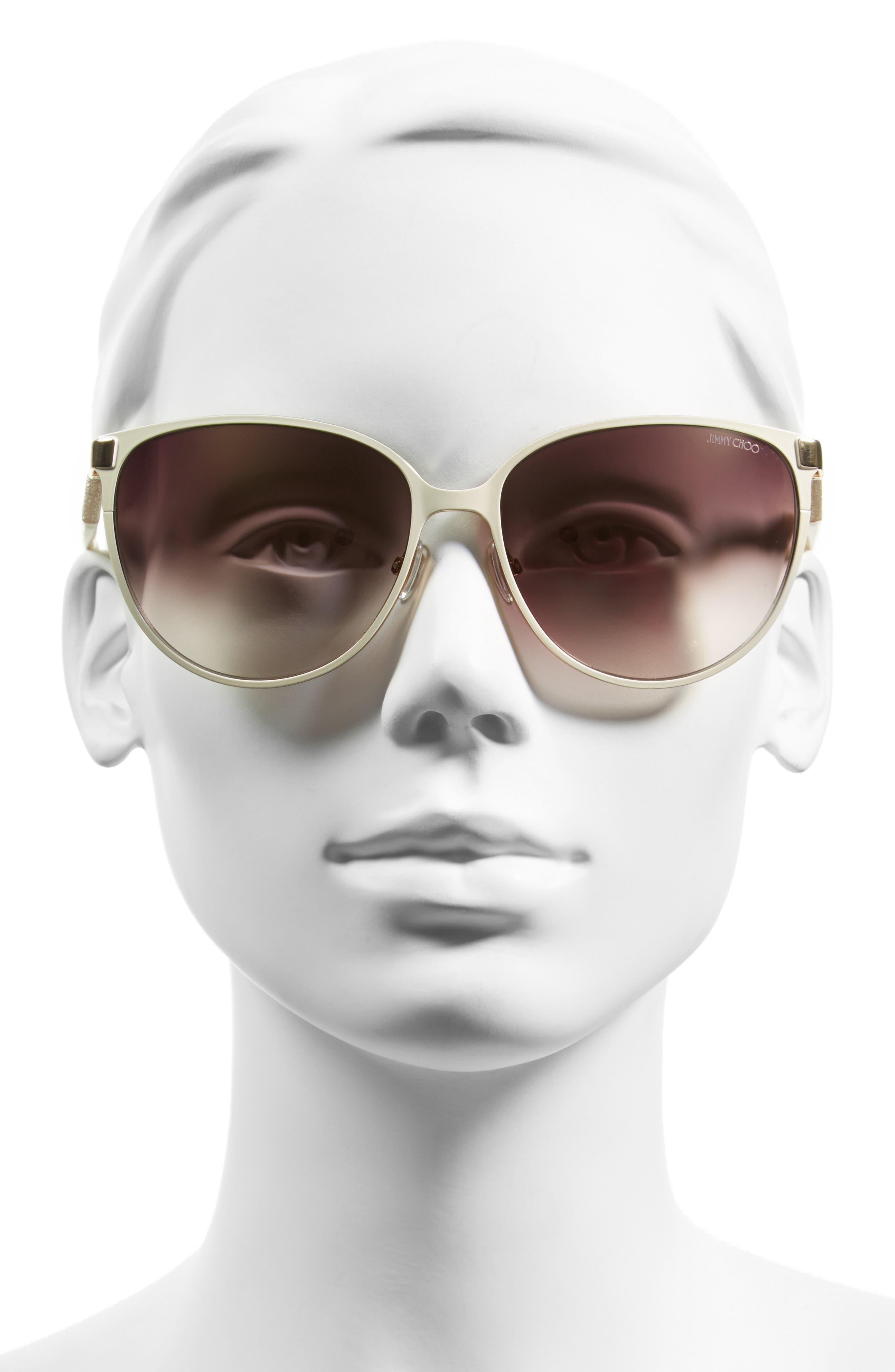 'Posies' 60mm Cat Eye Sunglasses,                             Alternate thumbnail 3, color,                             IVORY