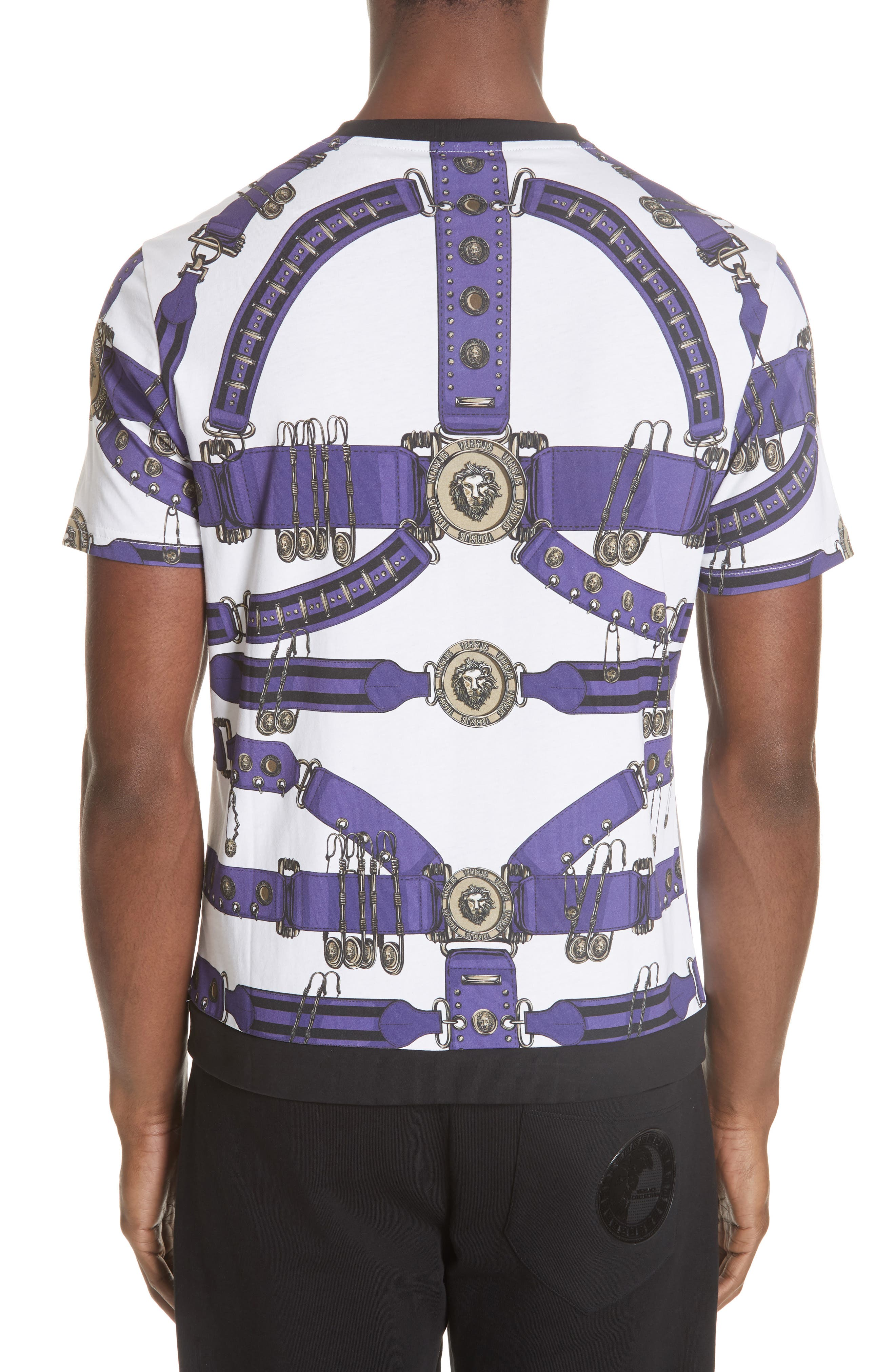 Safety Pin Harness T-Shirt,                             Alternate thumbnail 2, color,                             PURPLE AND WHITE