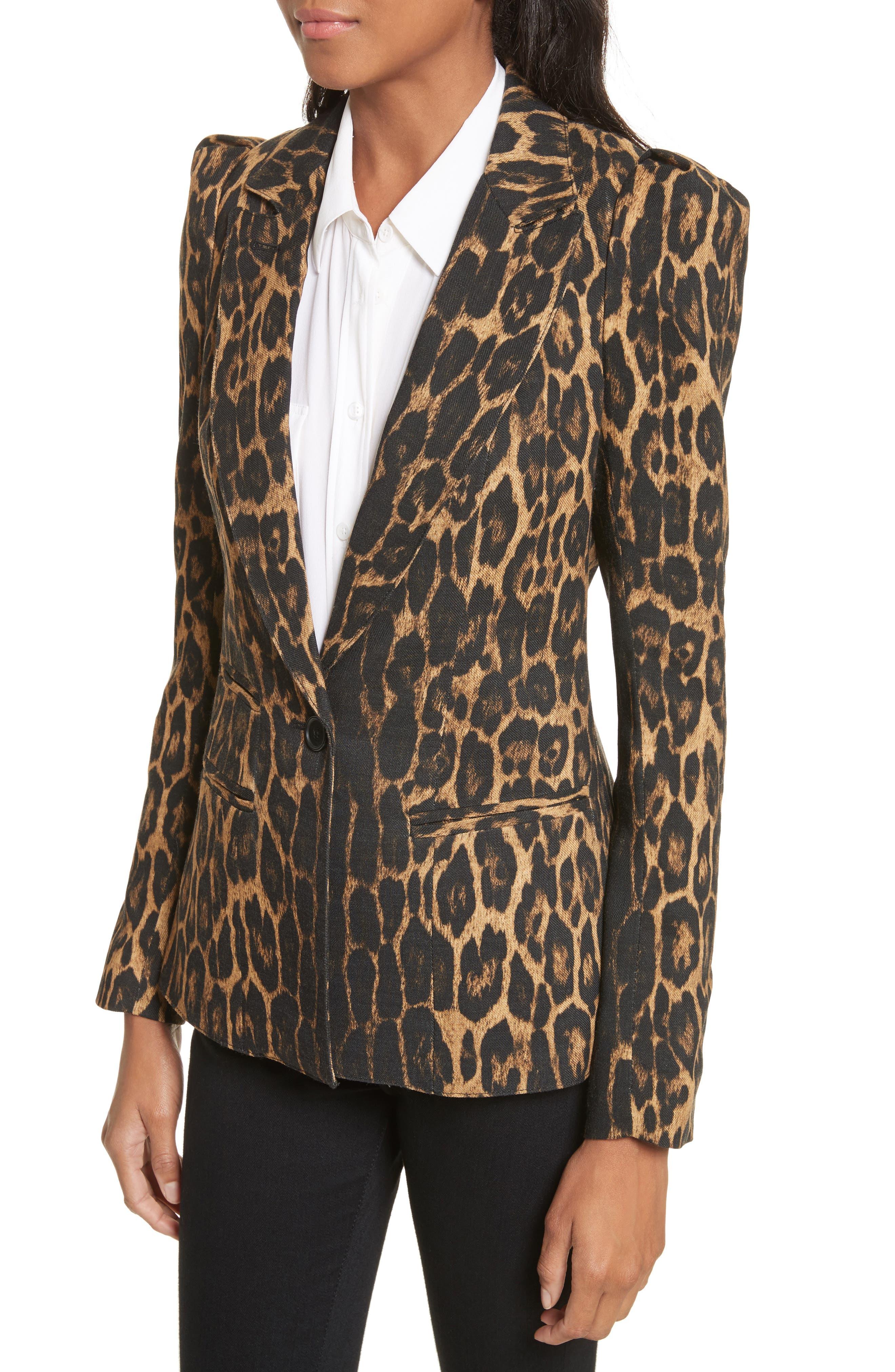 Leopard Puff Shoulder Wool Blazer,                             Alternate thumbnail 4, color,