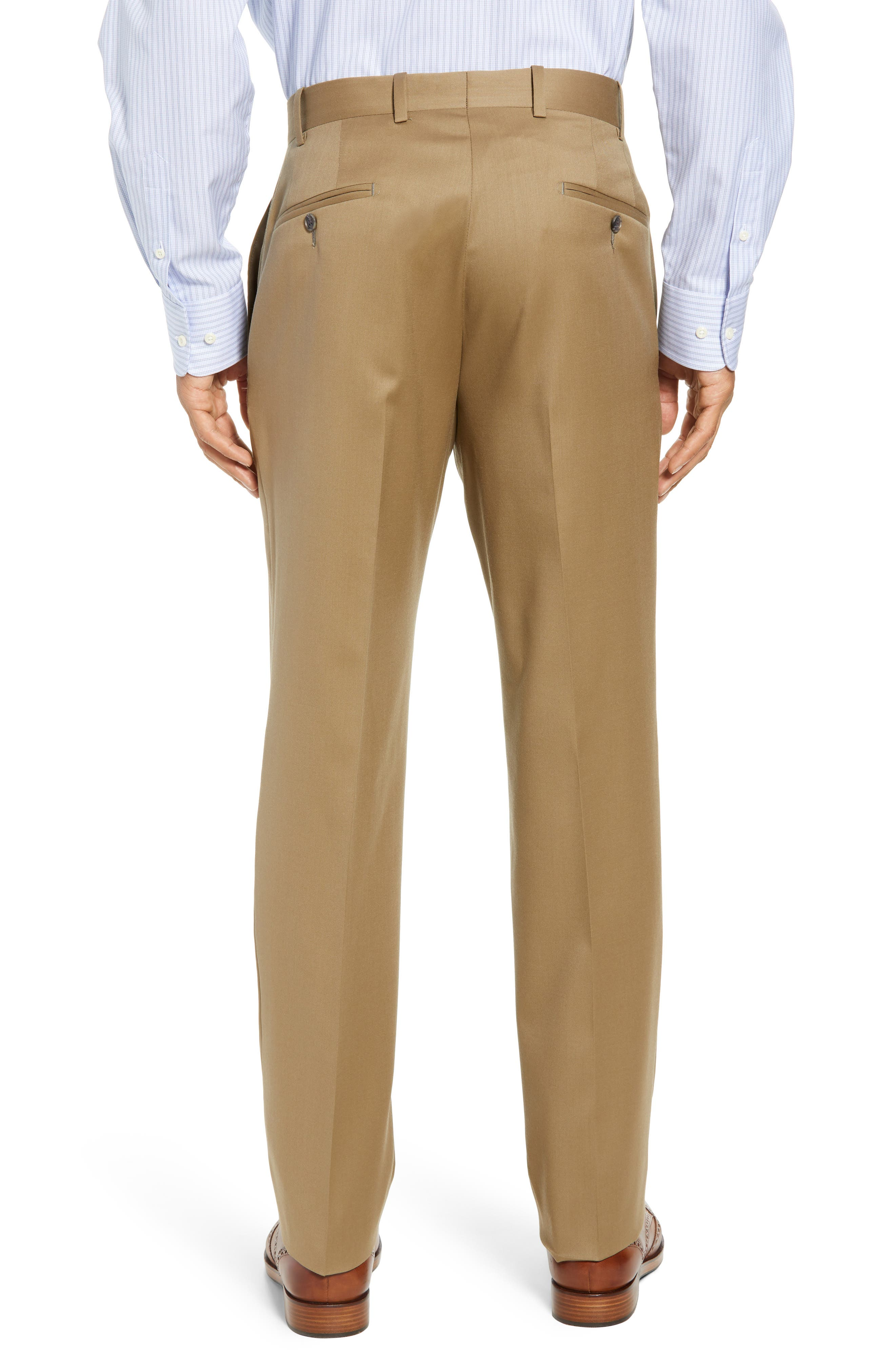 Torino Flat Front Wool Gabardine Trousers,                             Alternate thumbnail 10, color,