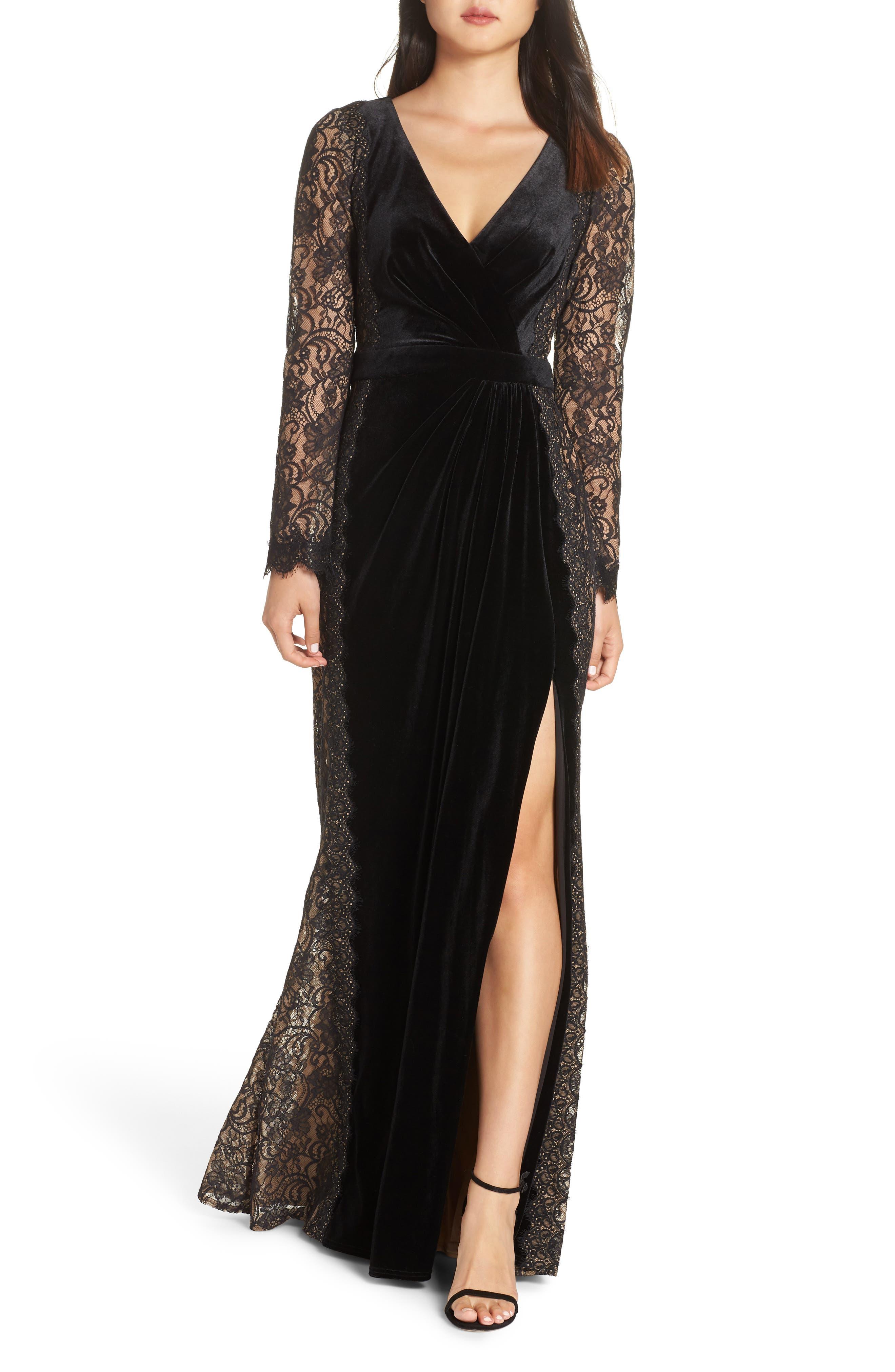 Lace & Velvet Gown,                             Main thumbnail 1, color,                             BLACK/ NUDE