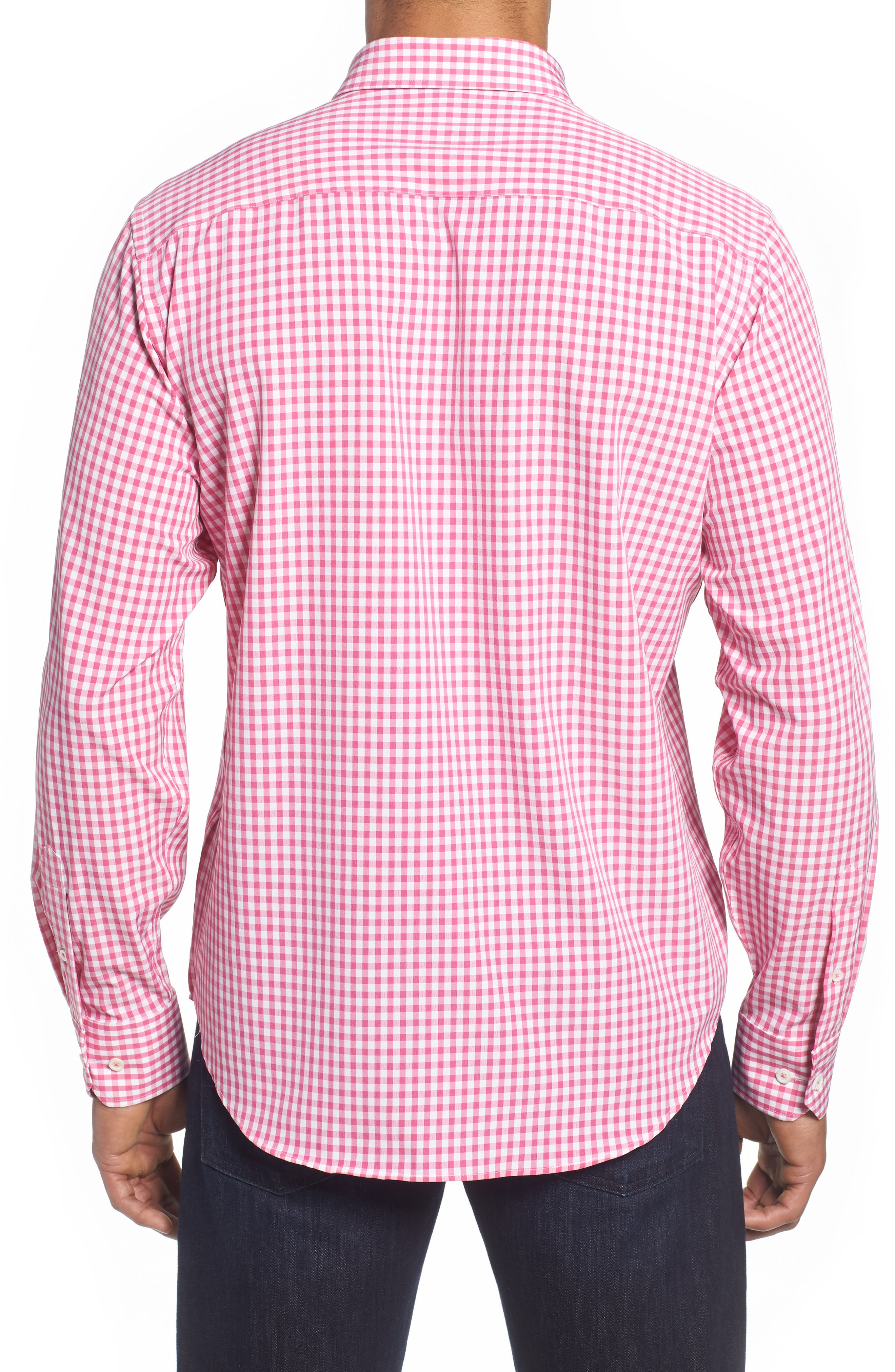 Classic Fit Gingham Performance Sport Shirt,                             Alternate thumbnail 2, color,                             PINK