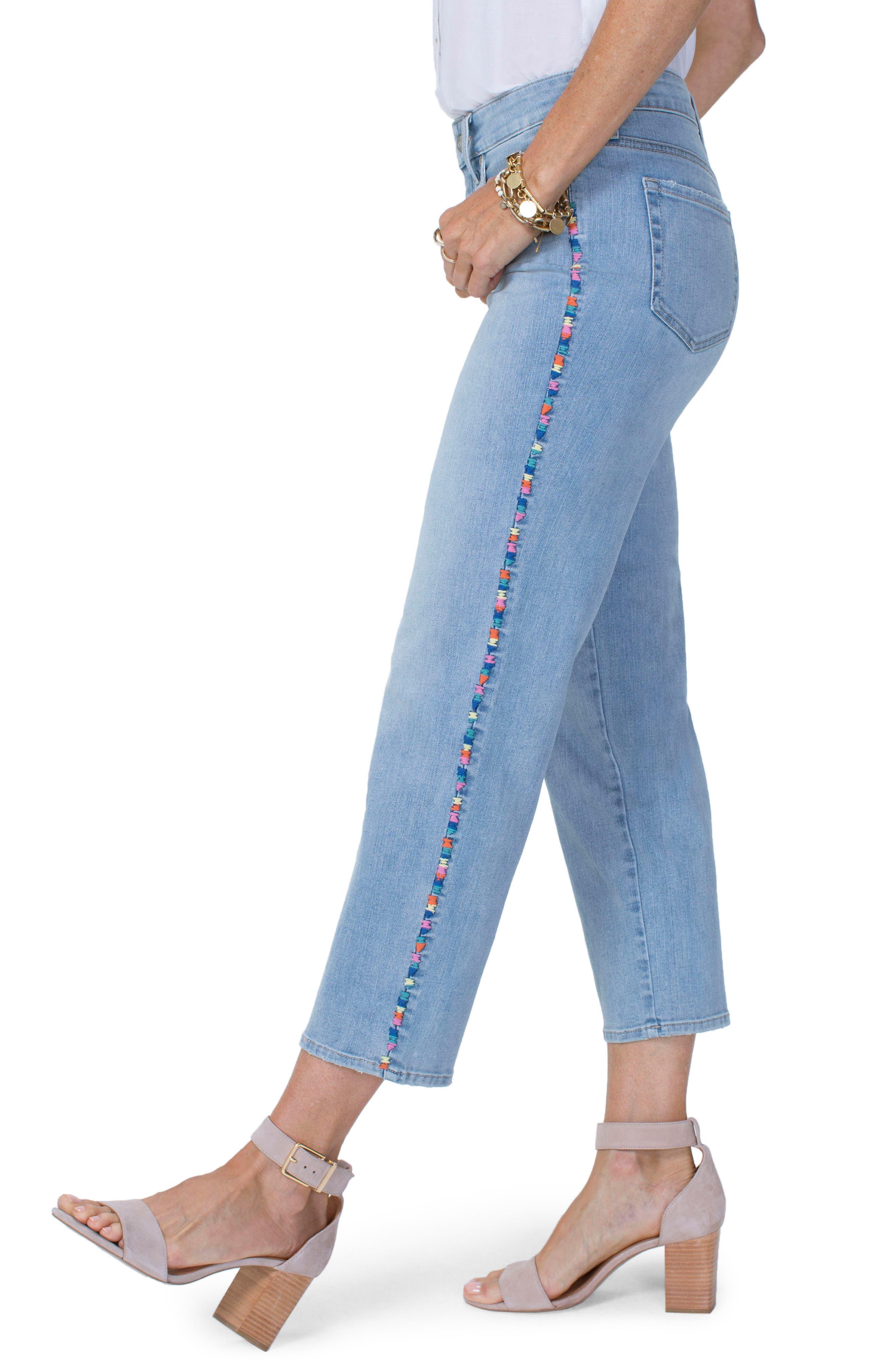 Jenna High Waist Embroidered Seam Ankle Straight Leg Jeans,                             Alternate thumbnail 4, color,                             423