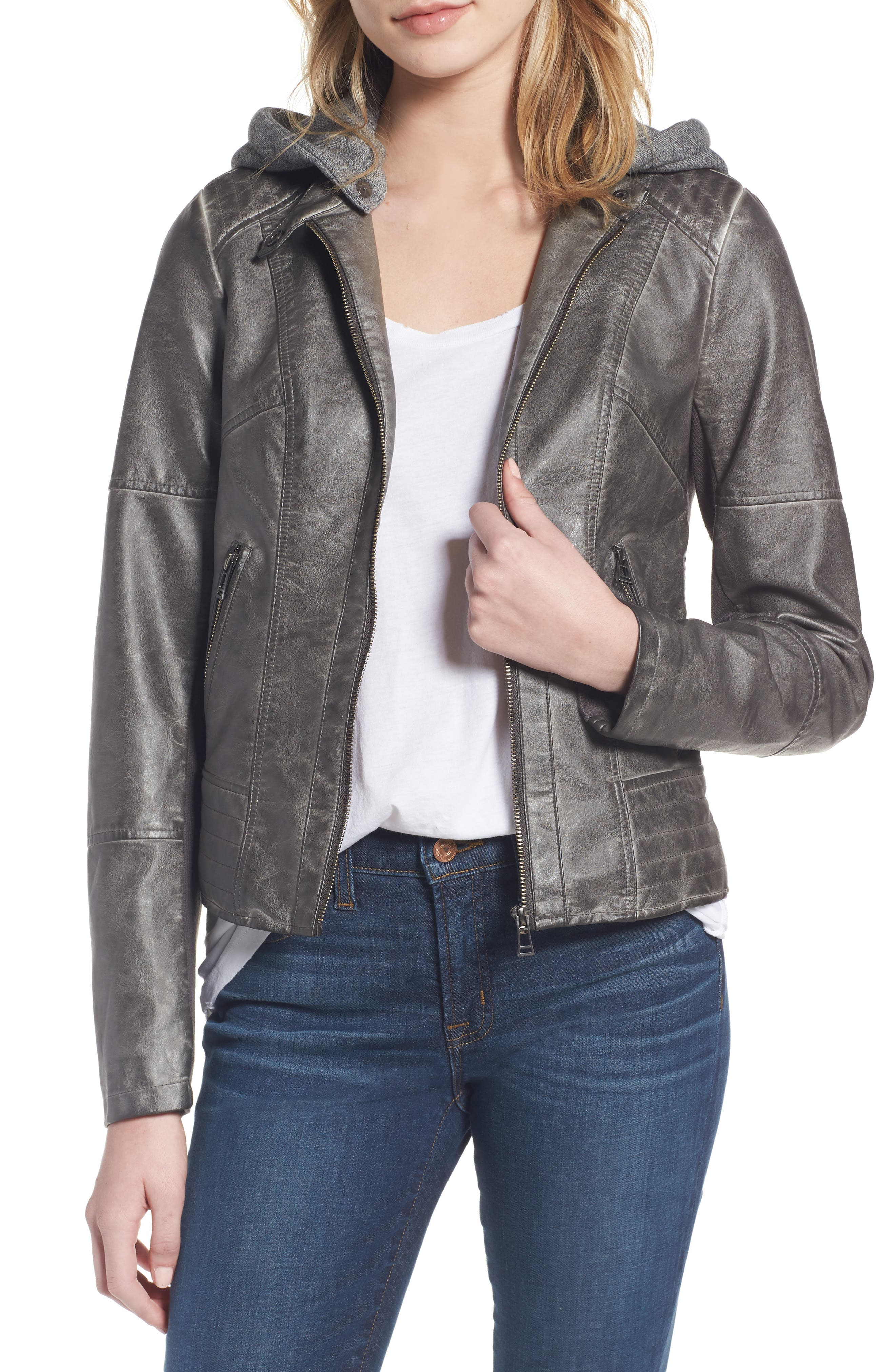 Faux Leather Jacket with Detachable Jersey Hood,                             Main thumbnail 1, color,                             020