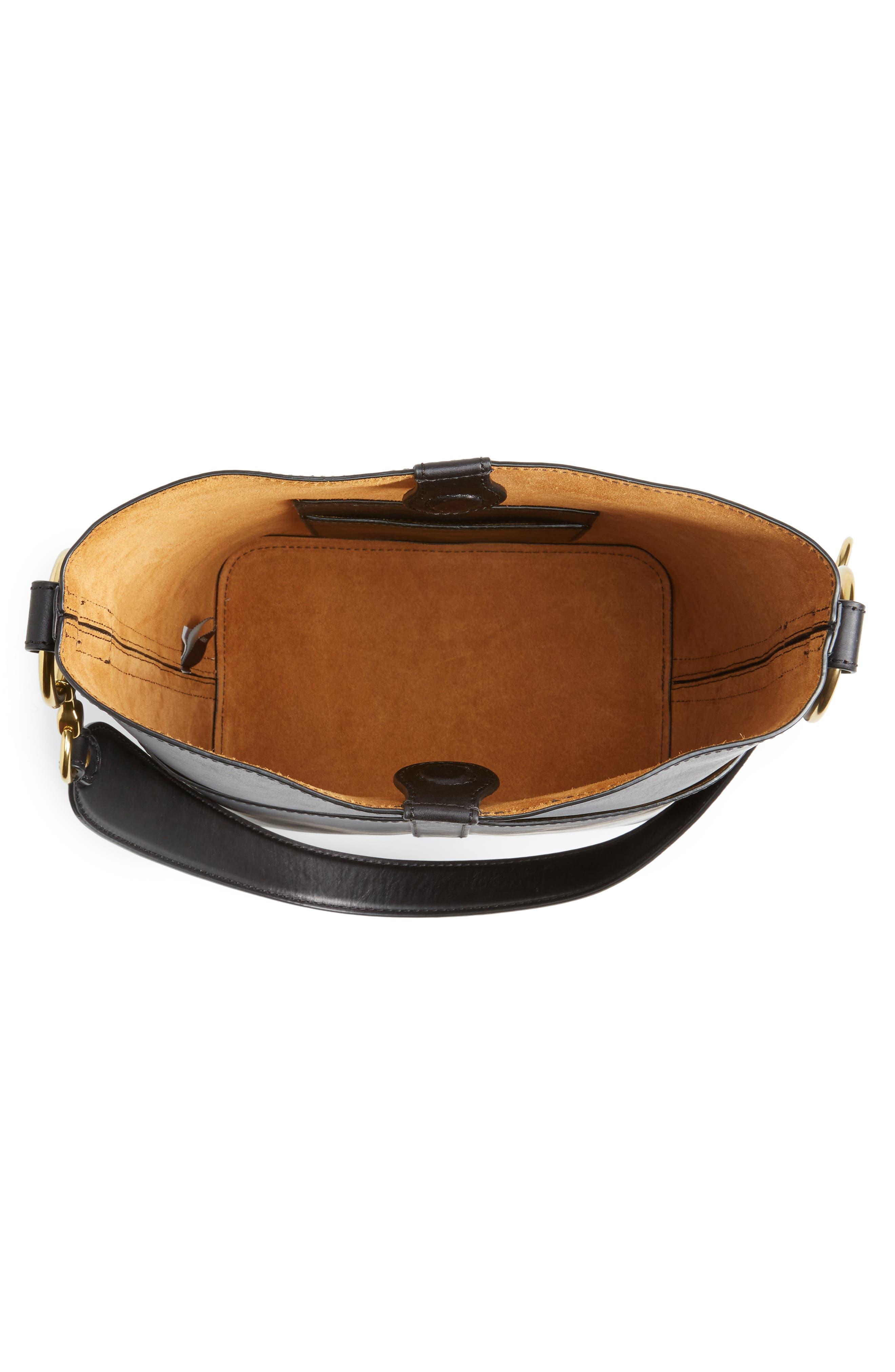 Ilana Harness Leather Bucket Hobo,                             Alternate thumbnail 4, color,                             001