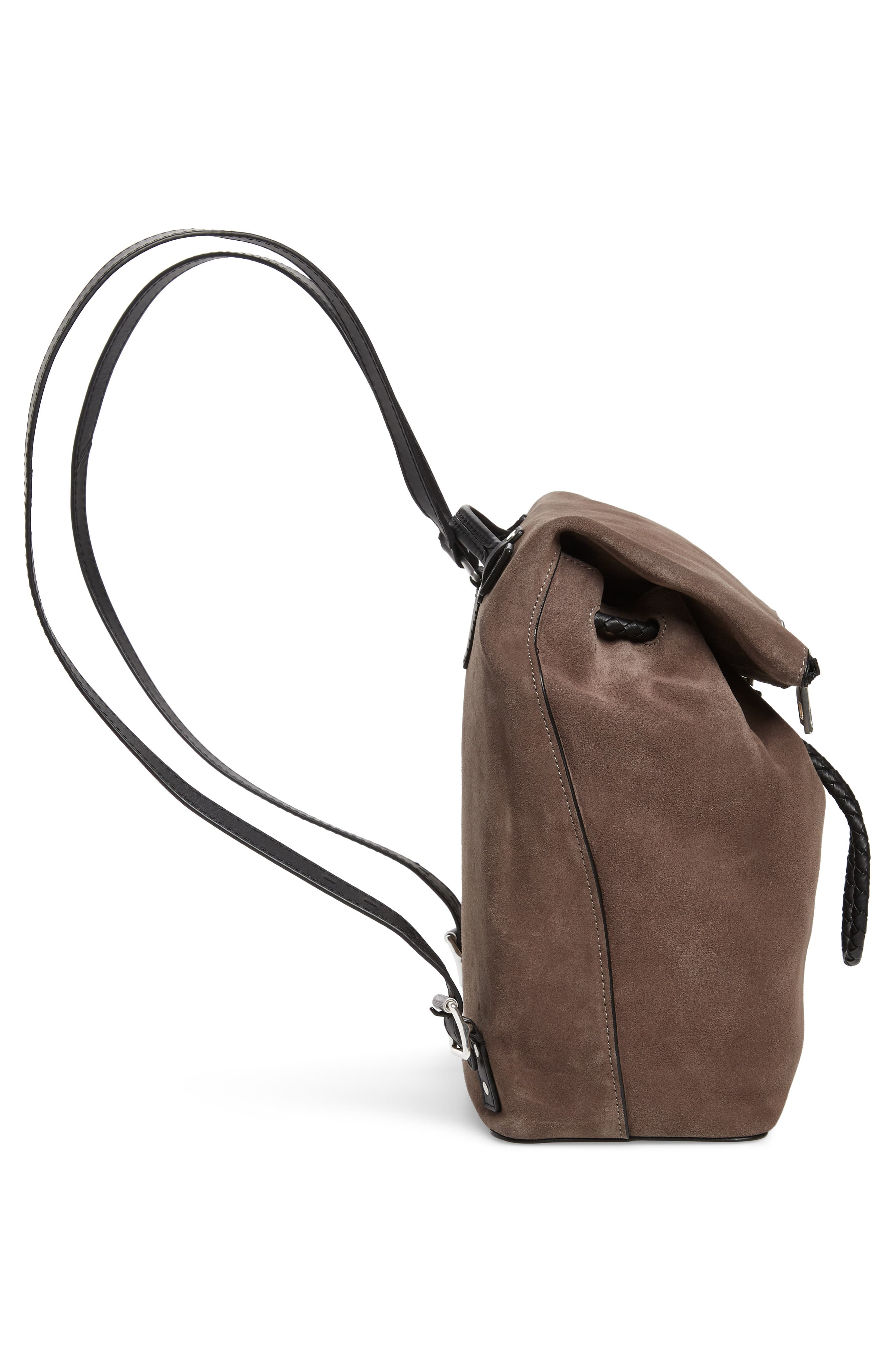 Loner Leather Backpack,                             Alternate thumbnail 5, color,                             ELEPHANT SUEDE