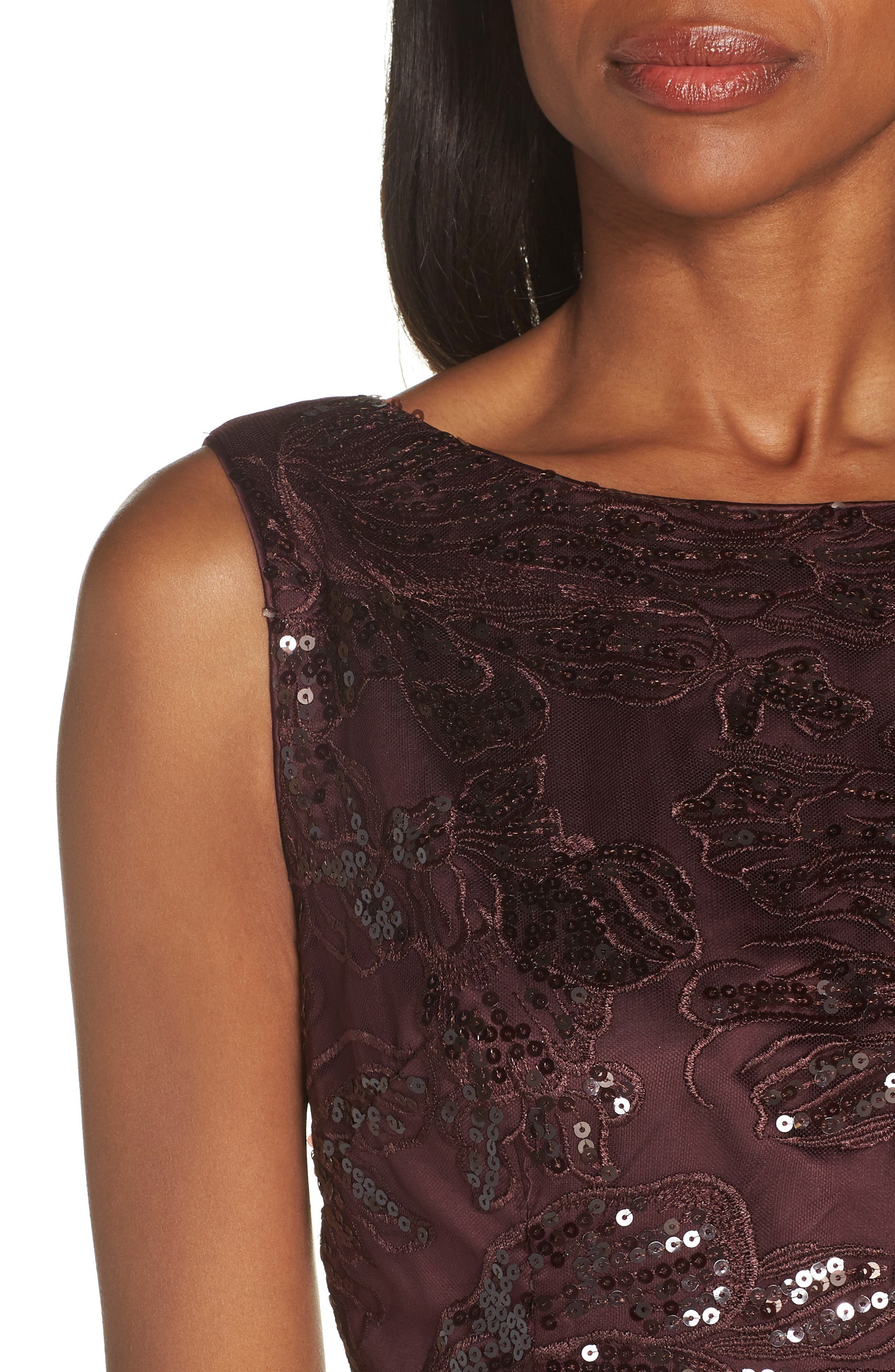 Embroidered Sequin Gown,                             Alternate thumbnail 4, color,                             BURGUNDY
