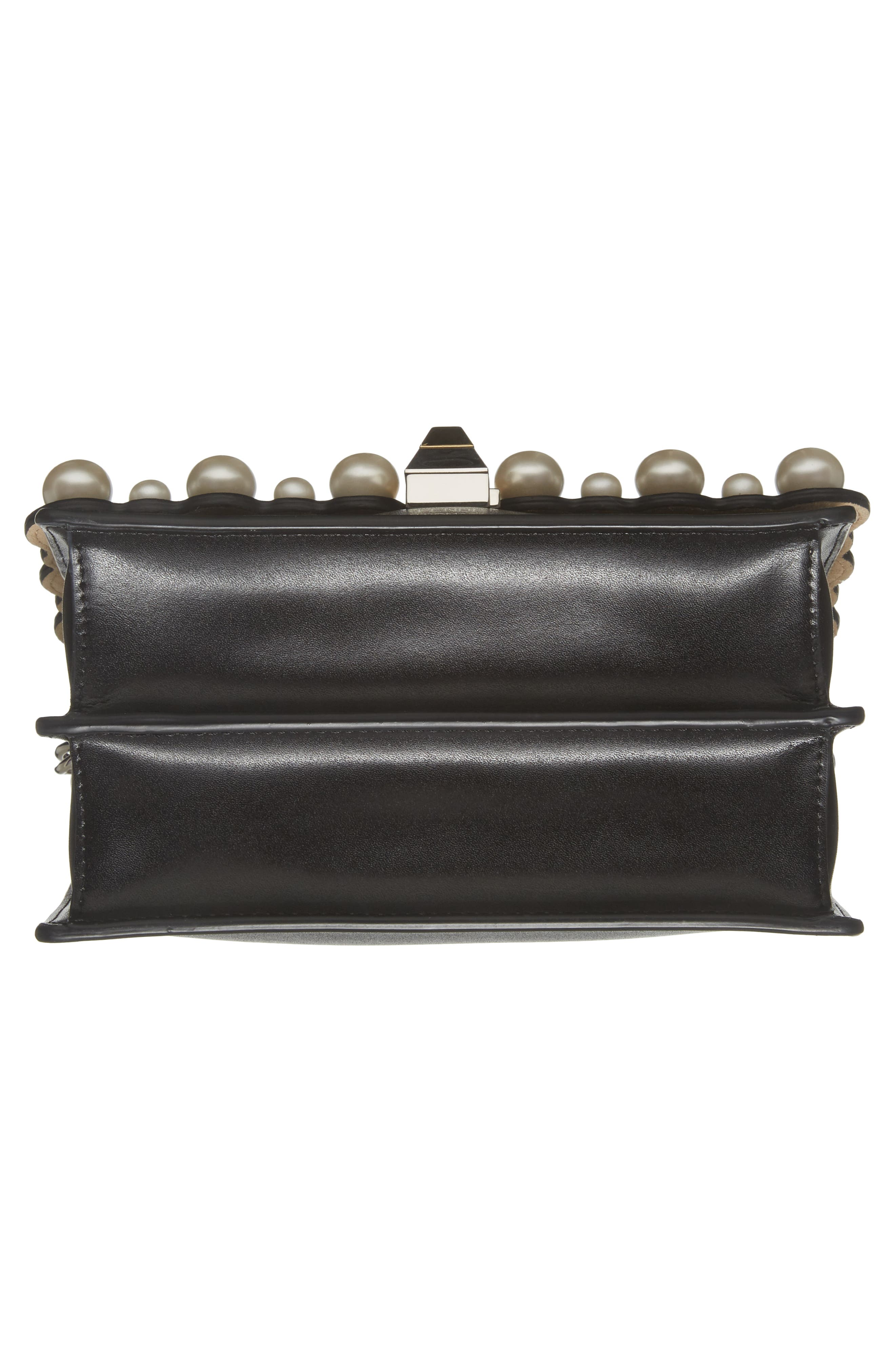 Small Kan I Imitation Pearl Stud Calfskin Shoulder Bag,                             Alternate thumbnail 6, color,                             BLACK