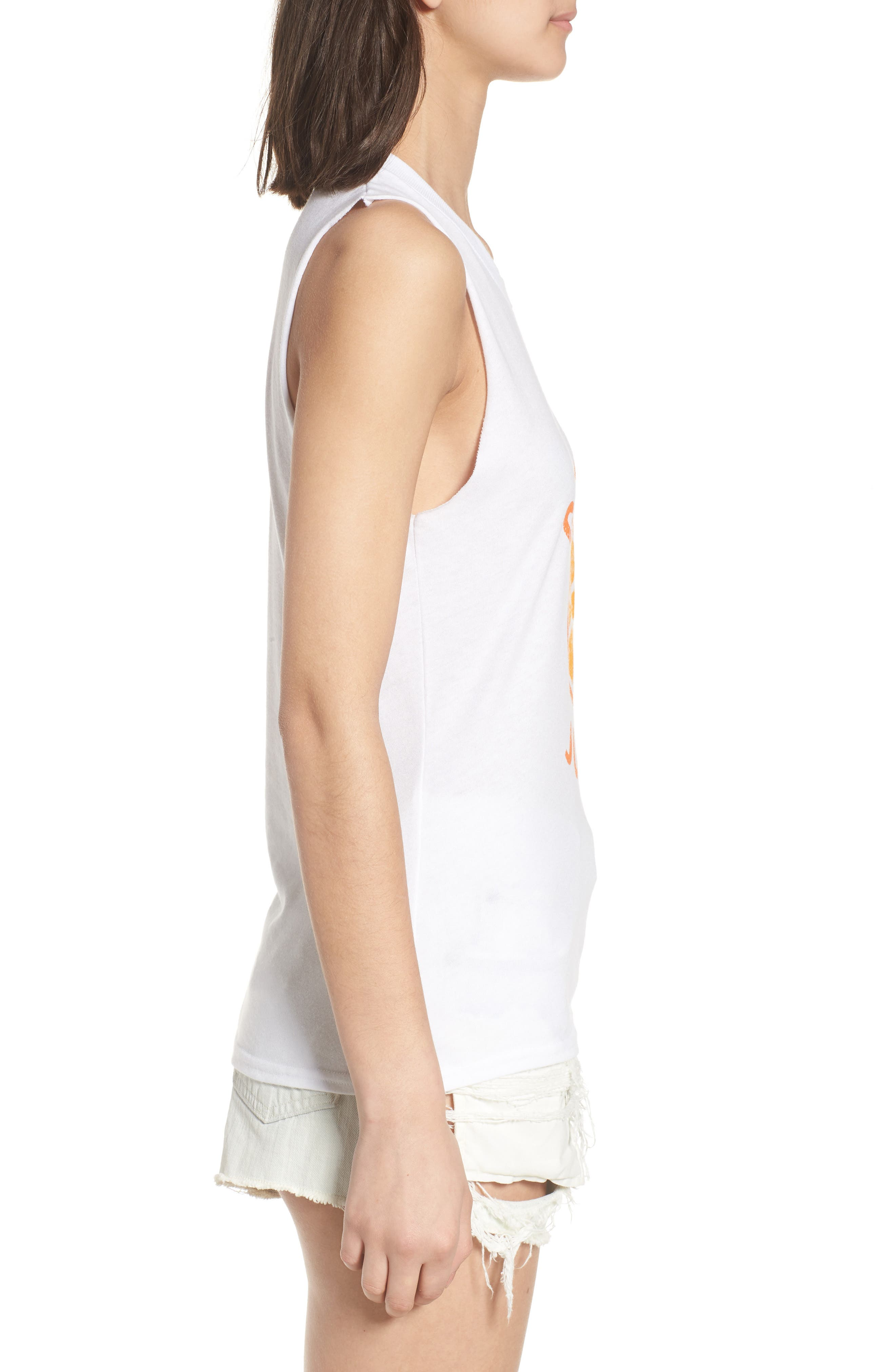 Gym and Juice Muscle Tank Top,                             Alternate thumbnail 3, color,                             WHITE