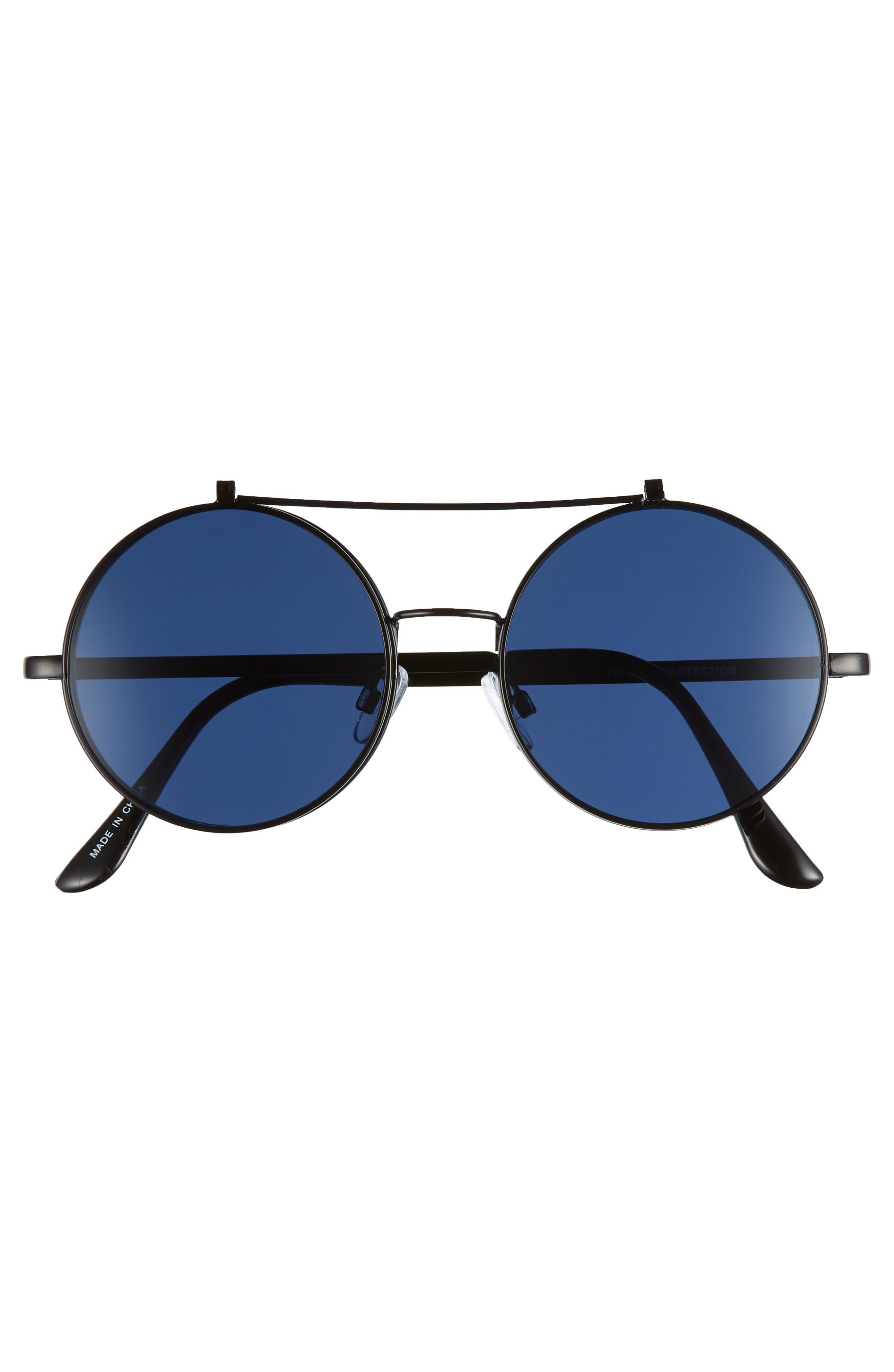 50mm Round Flip-Up Sunglasses,                             Alternate thumbnail 3, color,                             BLACK/ BLUE