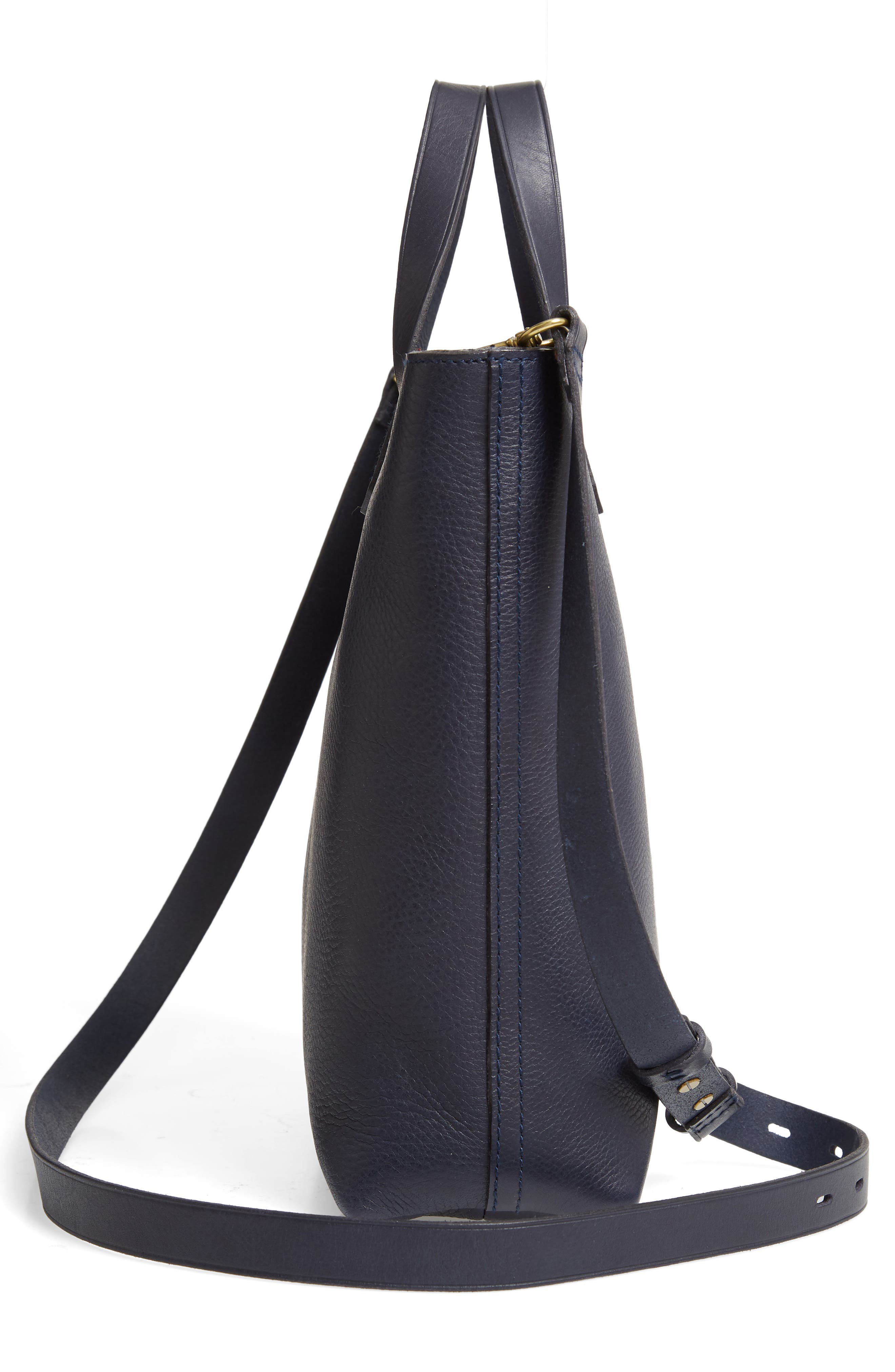 Small Transport Leather Crossbody Tote,                             Alternate thumbnail 5, color,                             DEEP NAVY