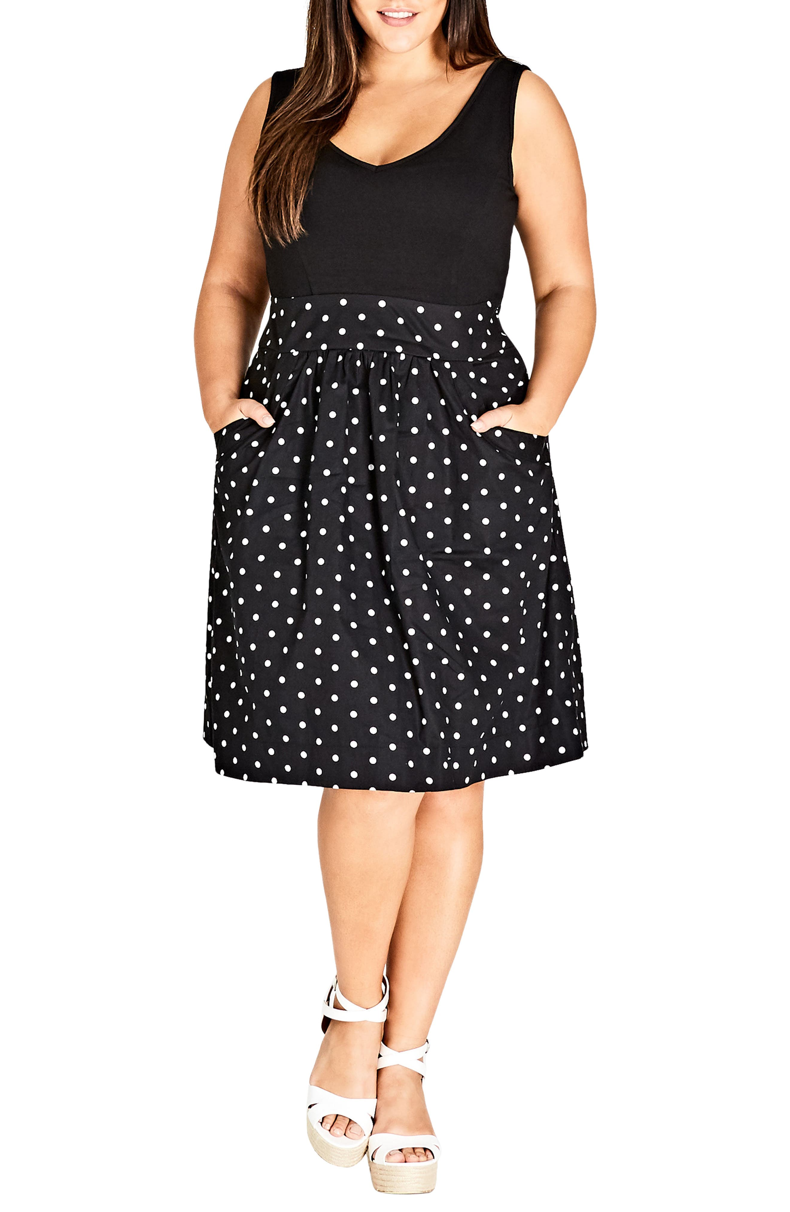 Simply Sweet Fit & Flare Dress,                             Main thumbnail 1, color,                             001