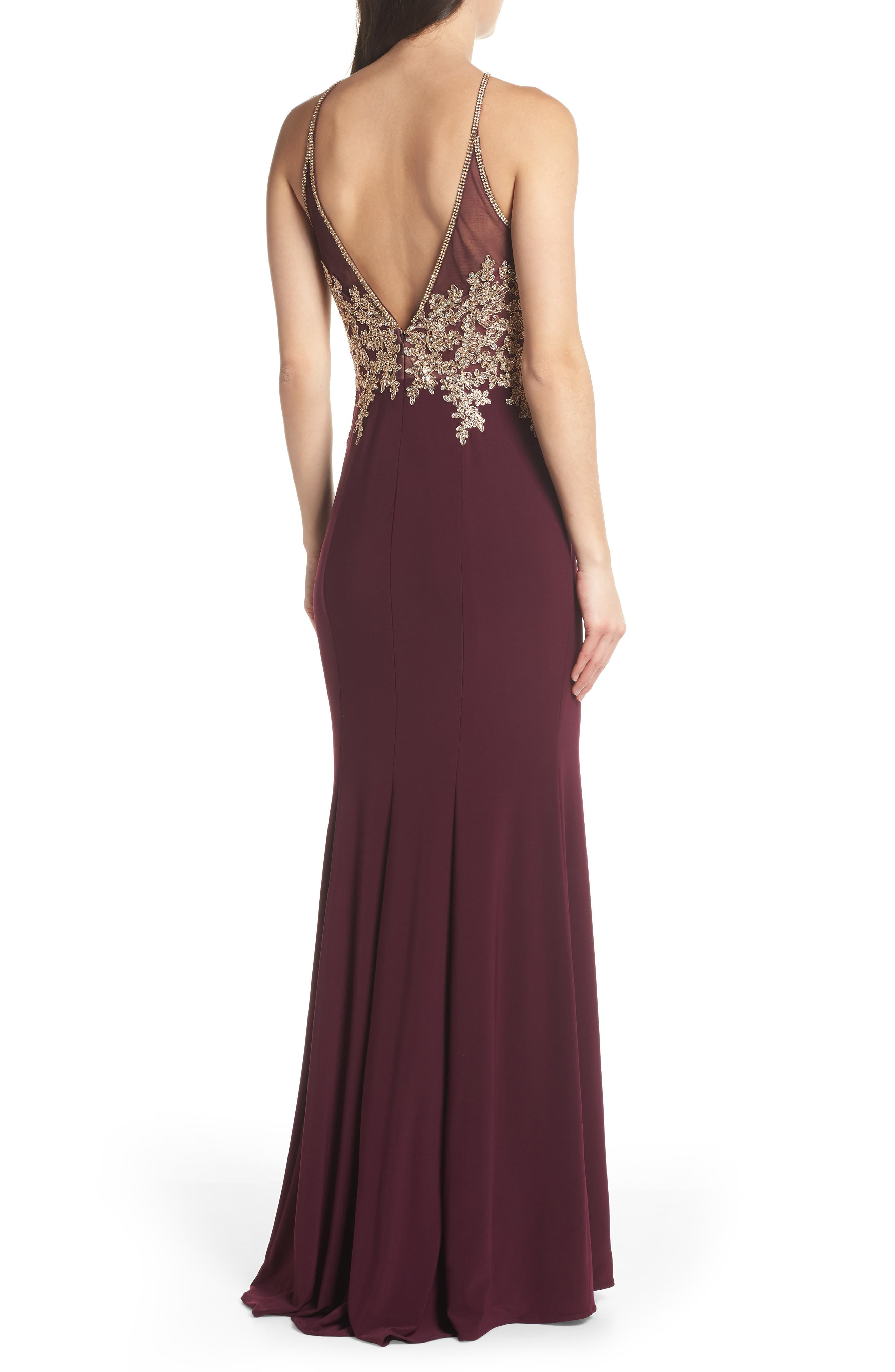 Gold Embroidery Halter Neck Gown,                             Alternate thumbnail 2, color,                             WINE/ GOLD