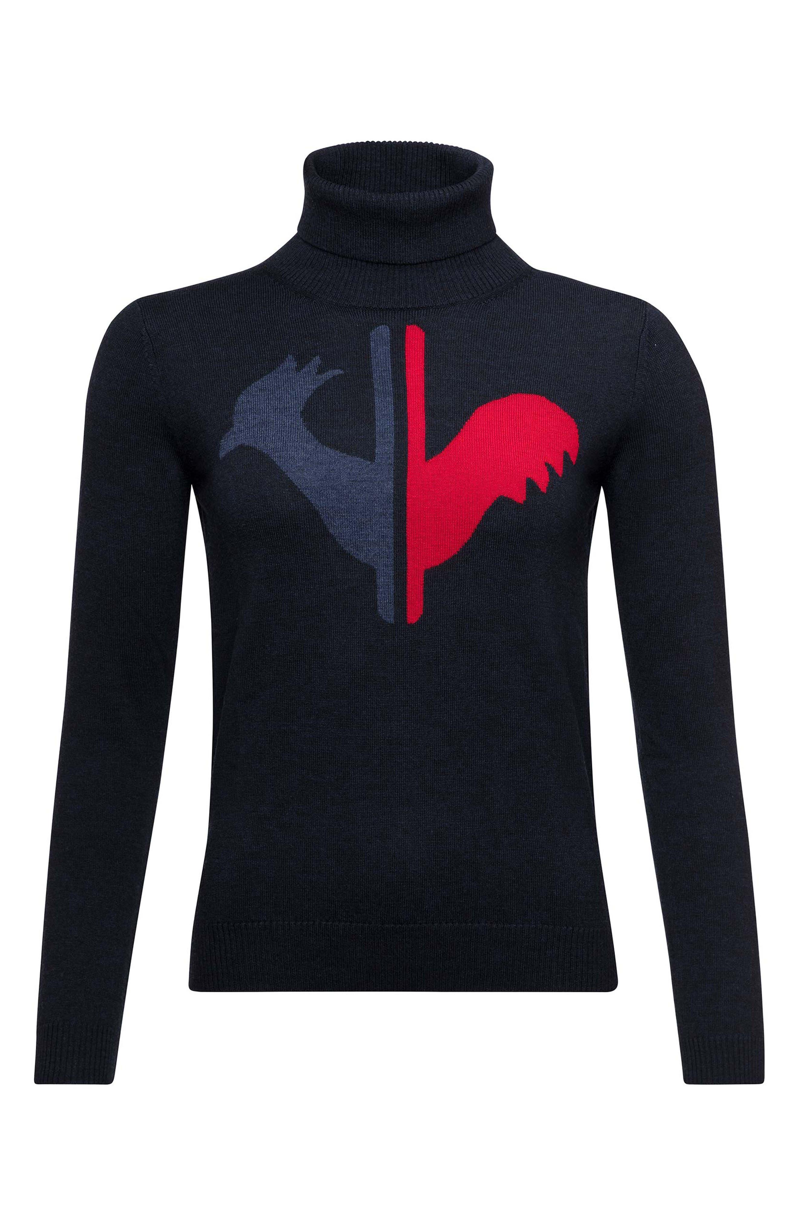 Rossignol Classique Tailored Fit Merino Wool Ski Sweater, Blue