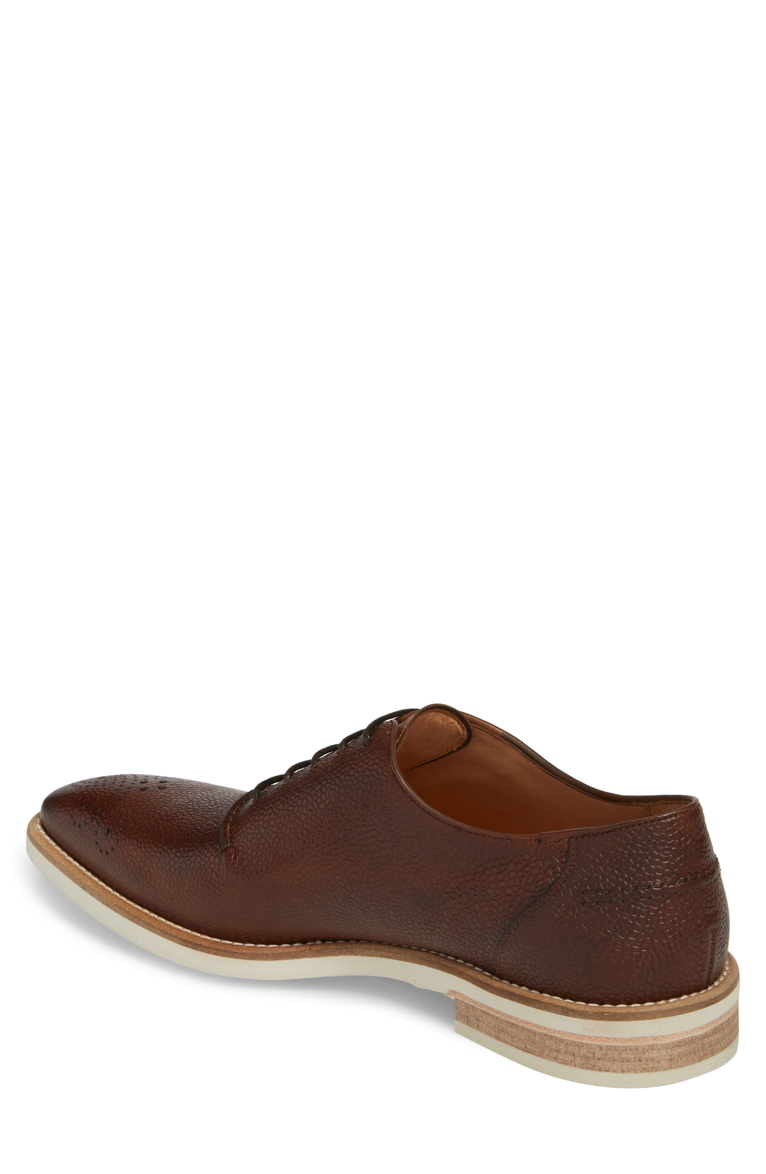 Polux Brogued Oxford,                             Alternate thumbnail 2, color,                             COGNAC LEATHER