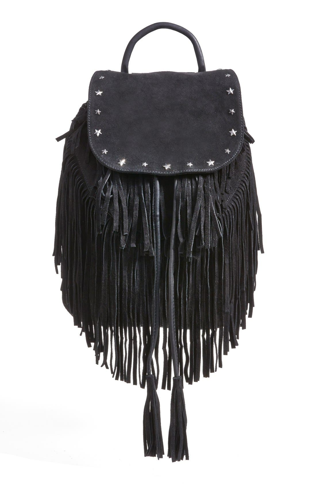 Fringed Suede Backpack,                         Main,                         color, 001