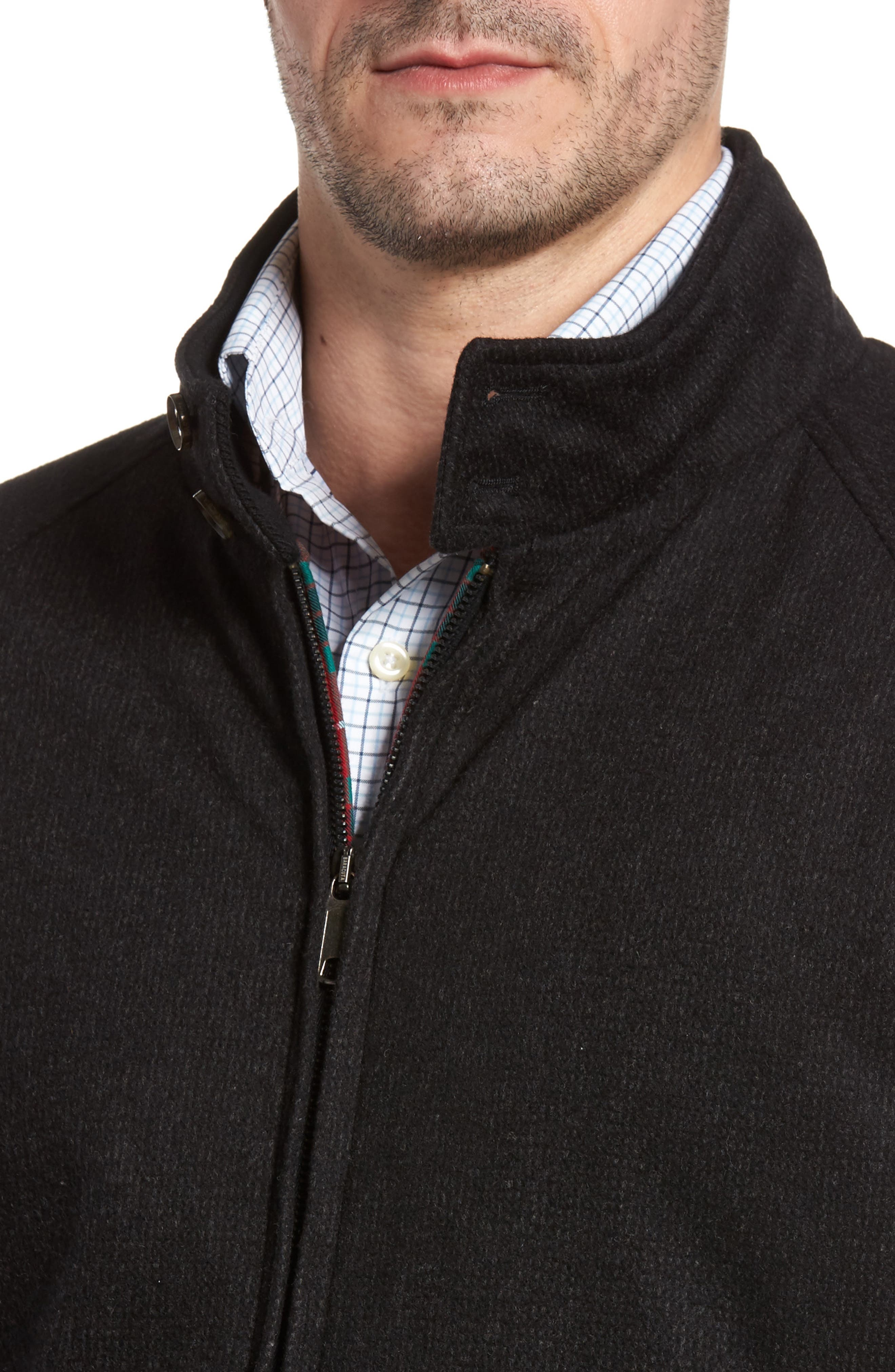 G9 Waterproof Wool Blend Harrington Jacket,                             Alternate thumbnail 4, color,                             020