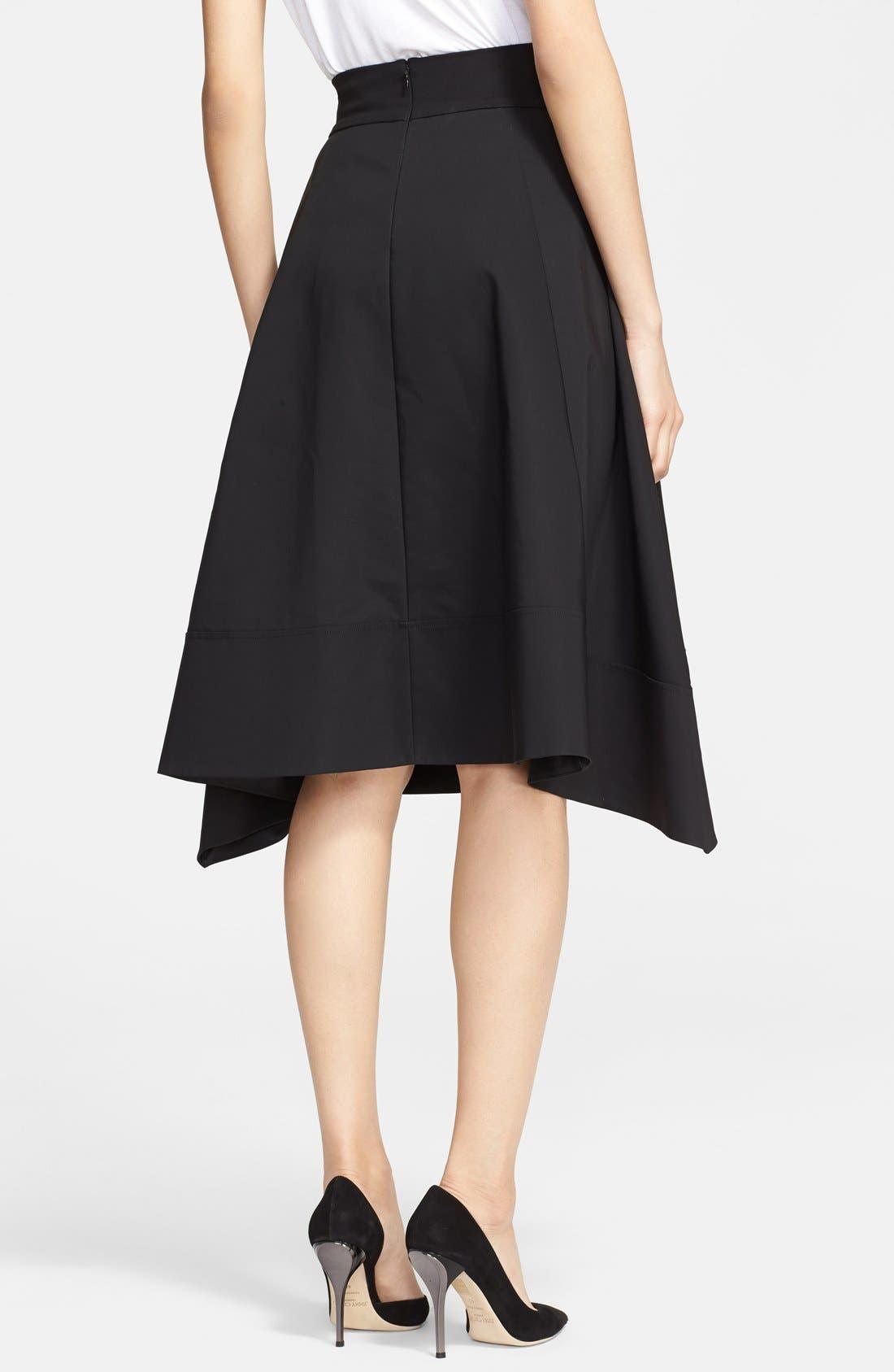 Donna Karan Collection Cotton Taffeta Skirt,                             Alternate thumbnail 3, color,                             001