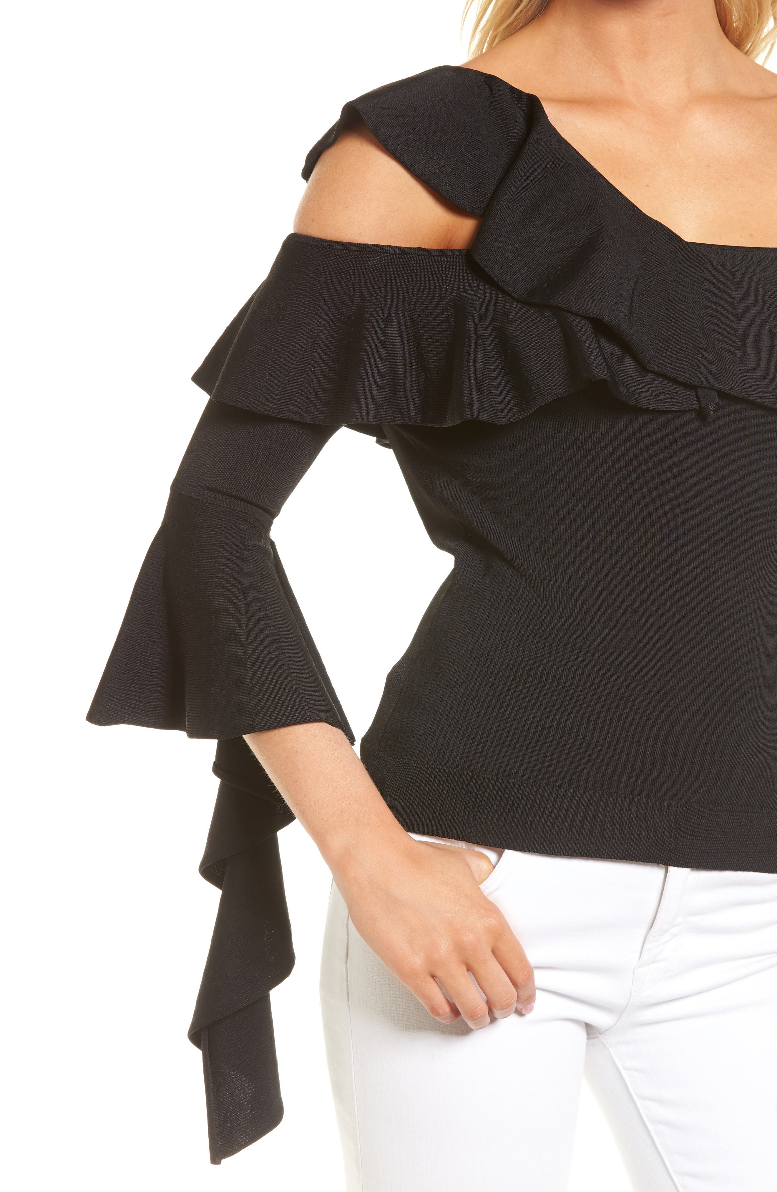 Cascading Ruffle One-Shoulder Top,                             Alternate thumbnail 4, color,                             001