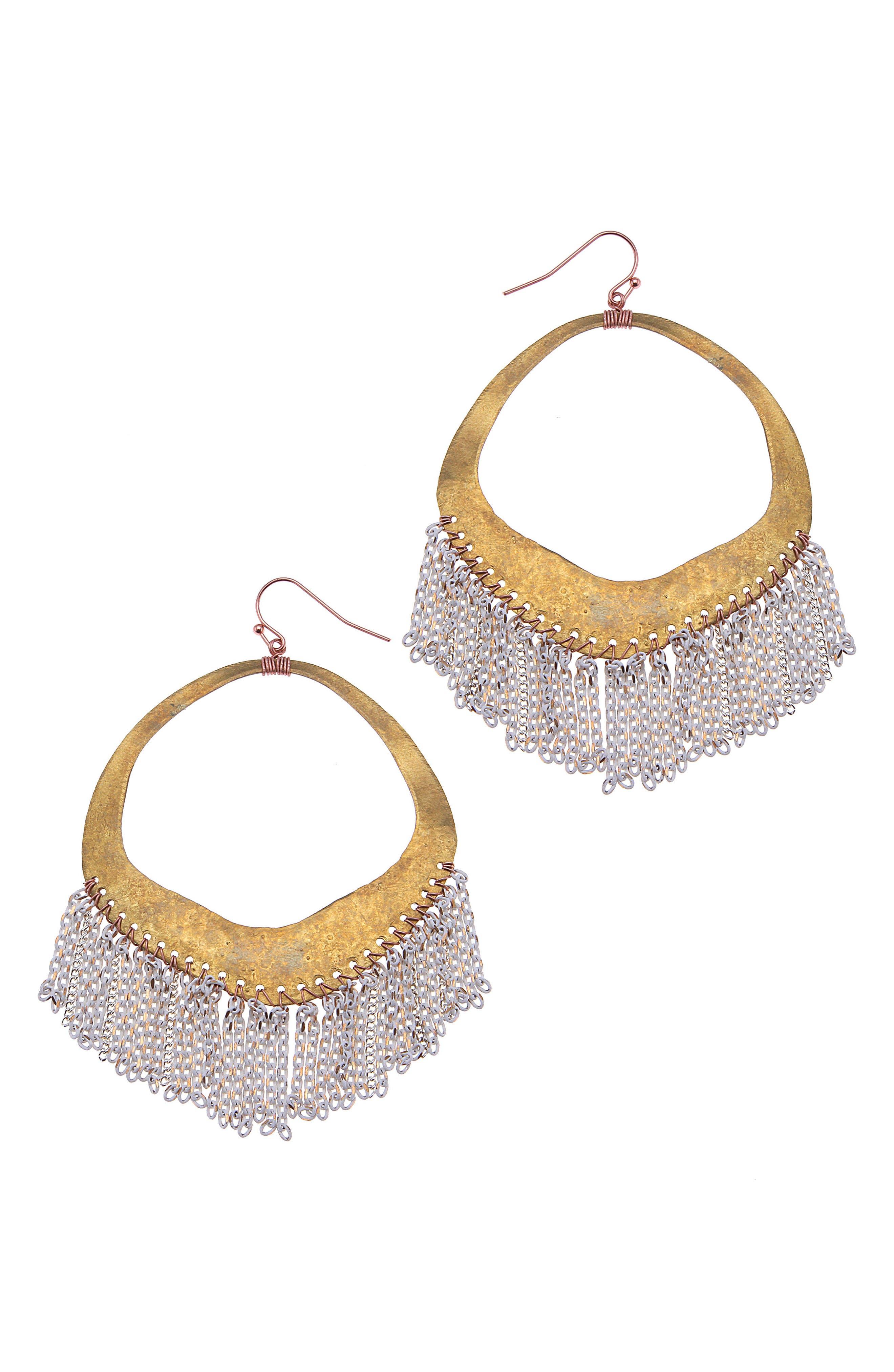 Chain Fringe Hoop Earrings,                         Main,                         color, 100
