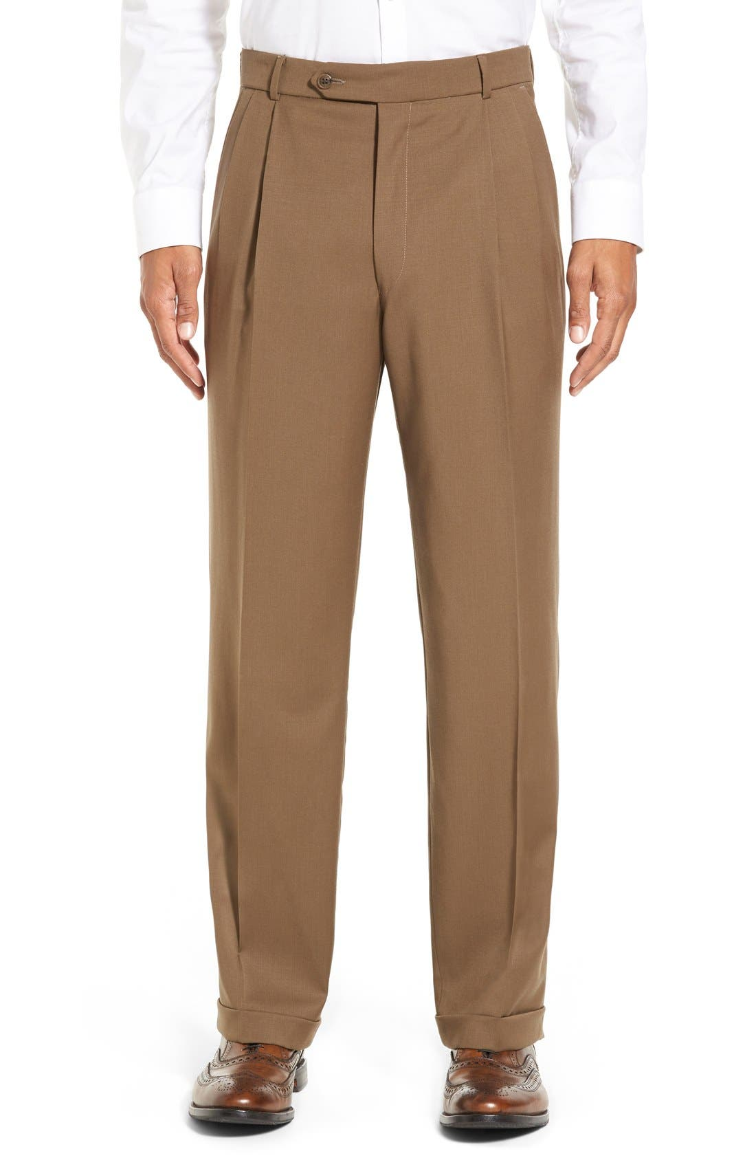 Pleated Solid Wool Trousers,                             Main thumbnail 8, color,
