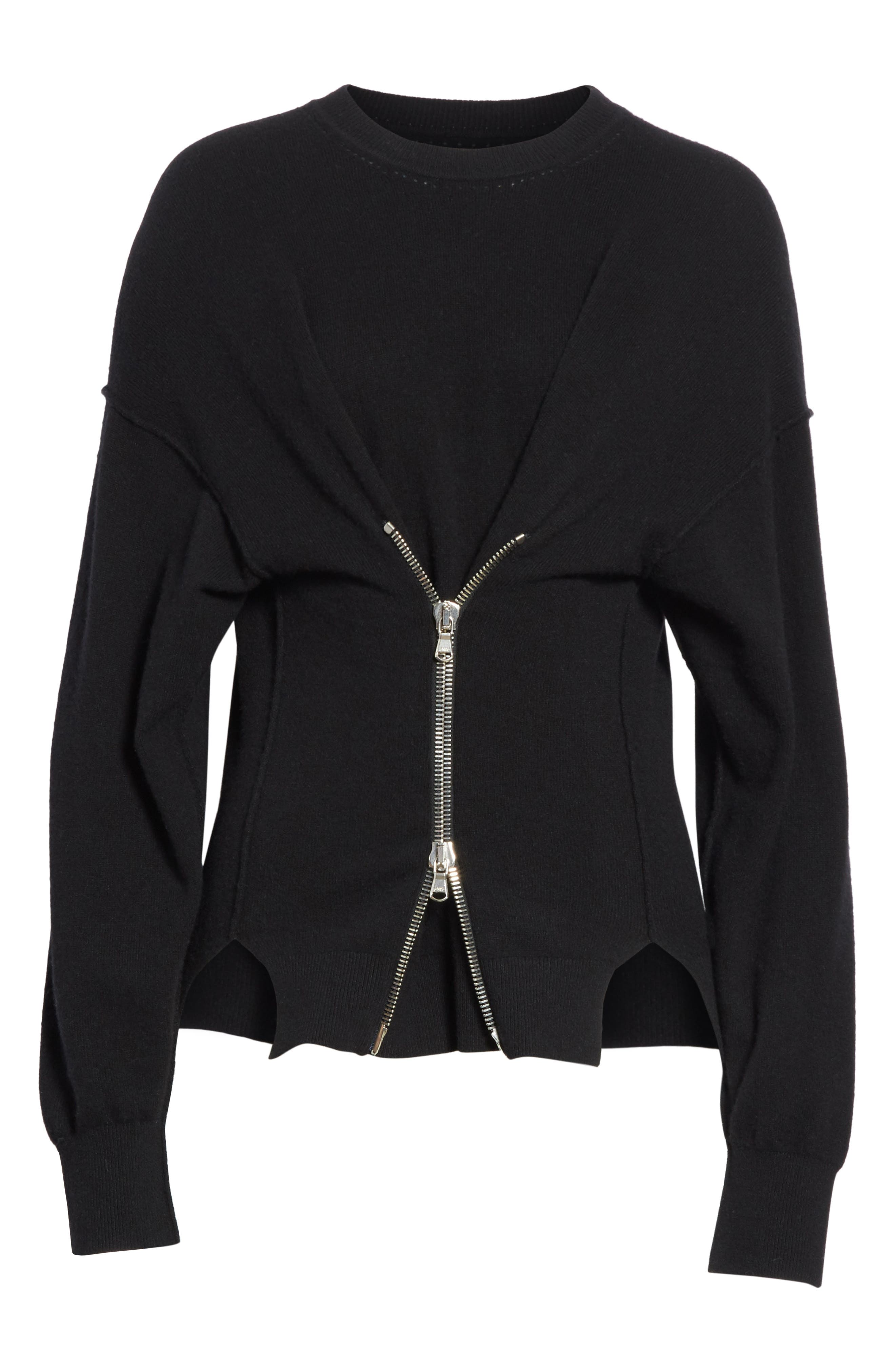 Zip Front Wool & Cashmere Blend Sweater,                             Alternate thumbnail 6, color,                             001