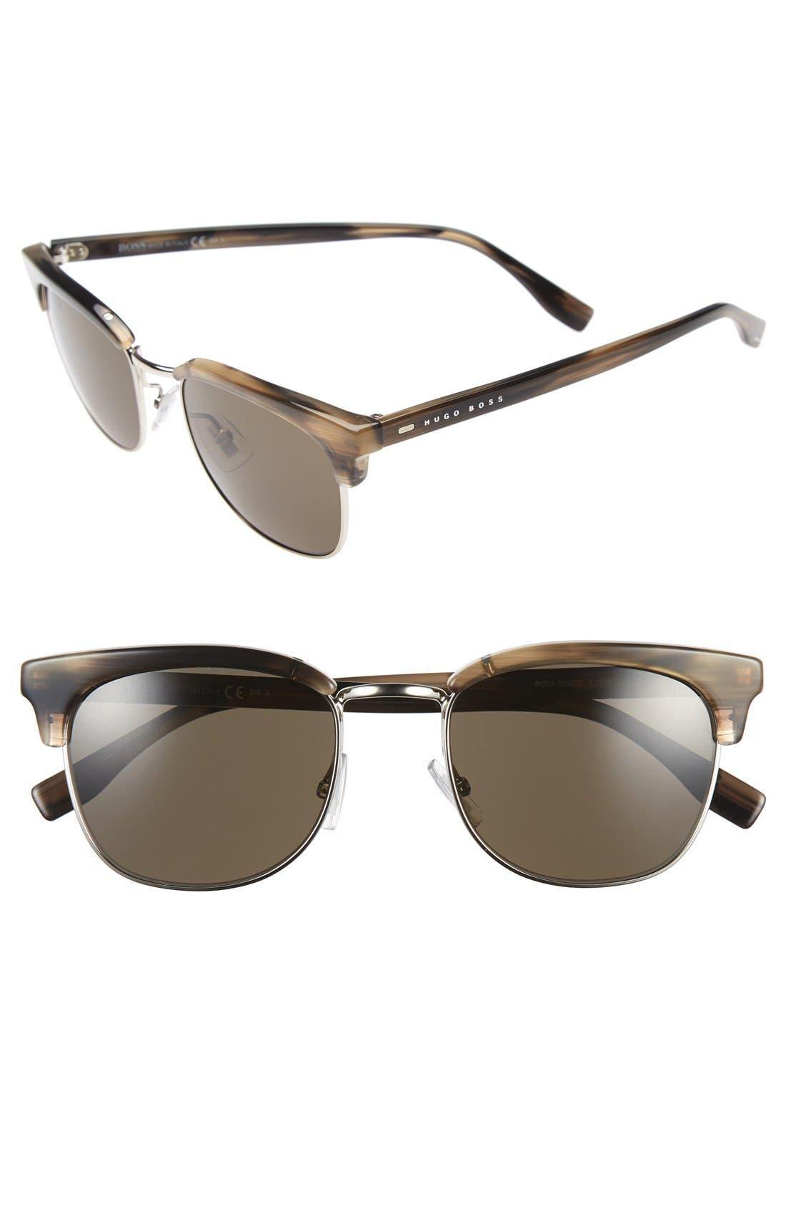 52mm Retro Sunglasses,                         Main,                         color, BROWN HORN/ SILVER/ DARK BROWN