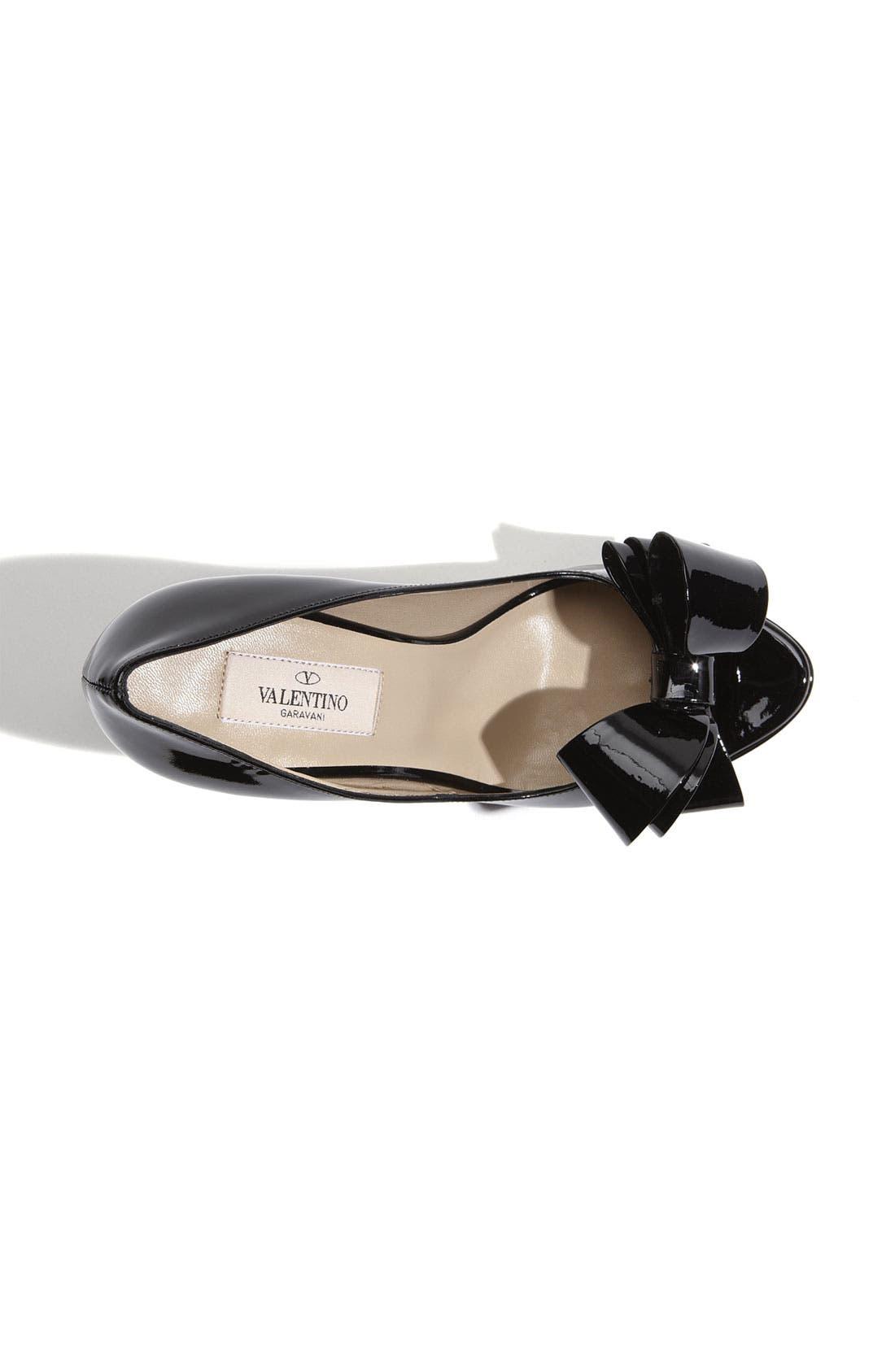 VALENTINO GARAVANI,                             Couture Bow Platform Pump,                             Alternate thumbnail 4, color,                             001