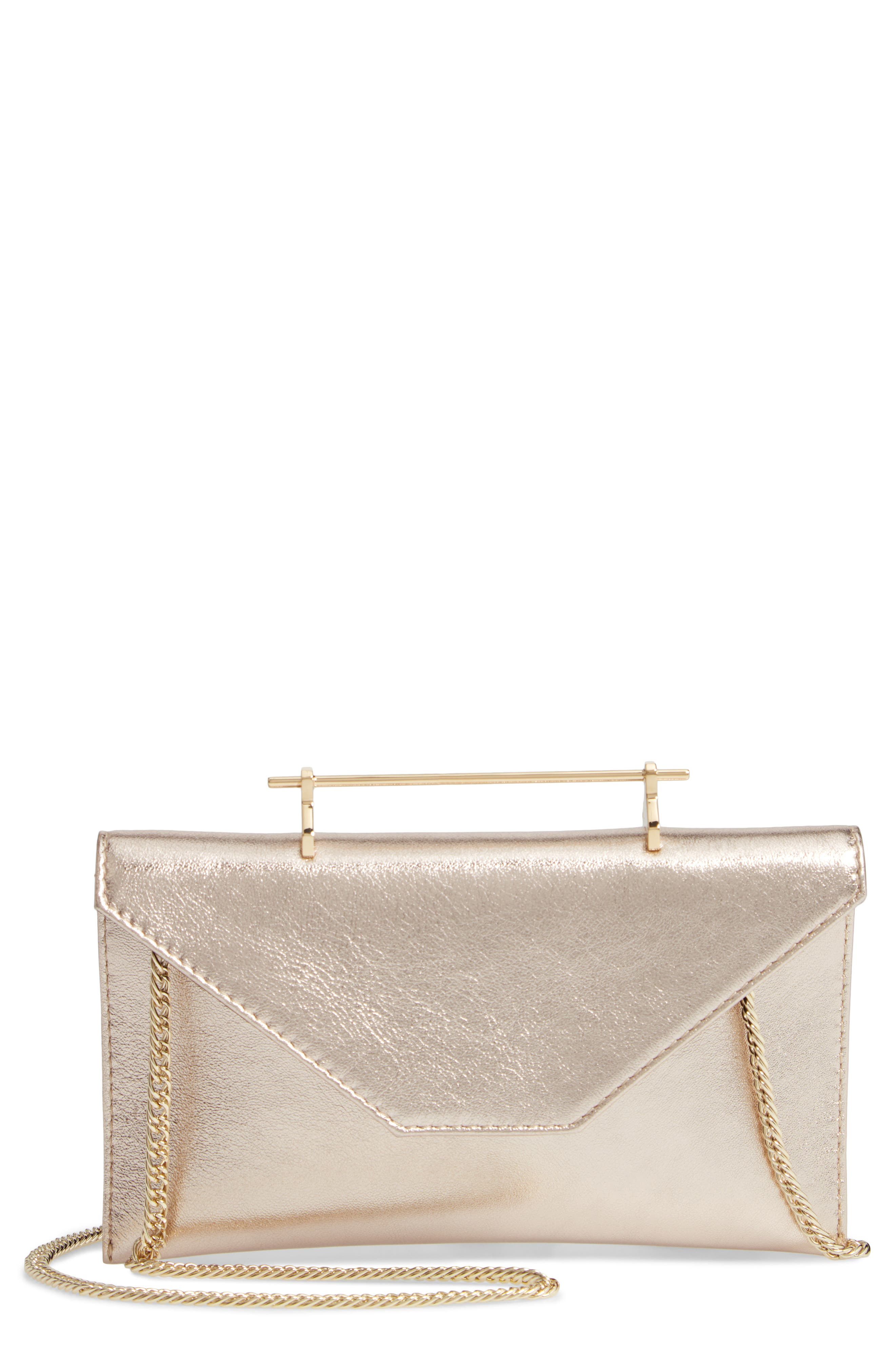 Annabelle Metallic Calfskin Leather Clutch,                             Main thumbnail 1, color,                             METALLIC GOLD/ GOLD