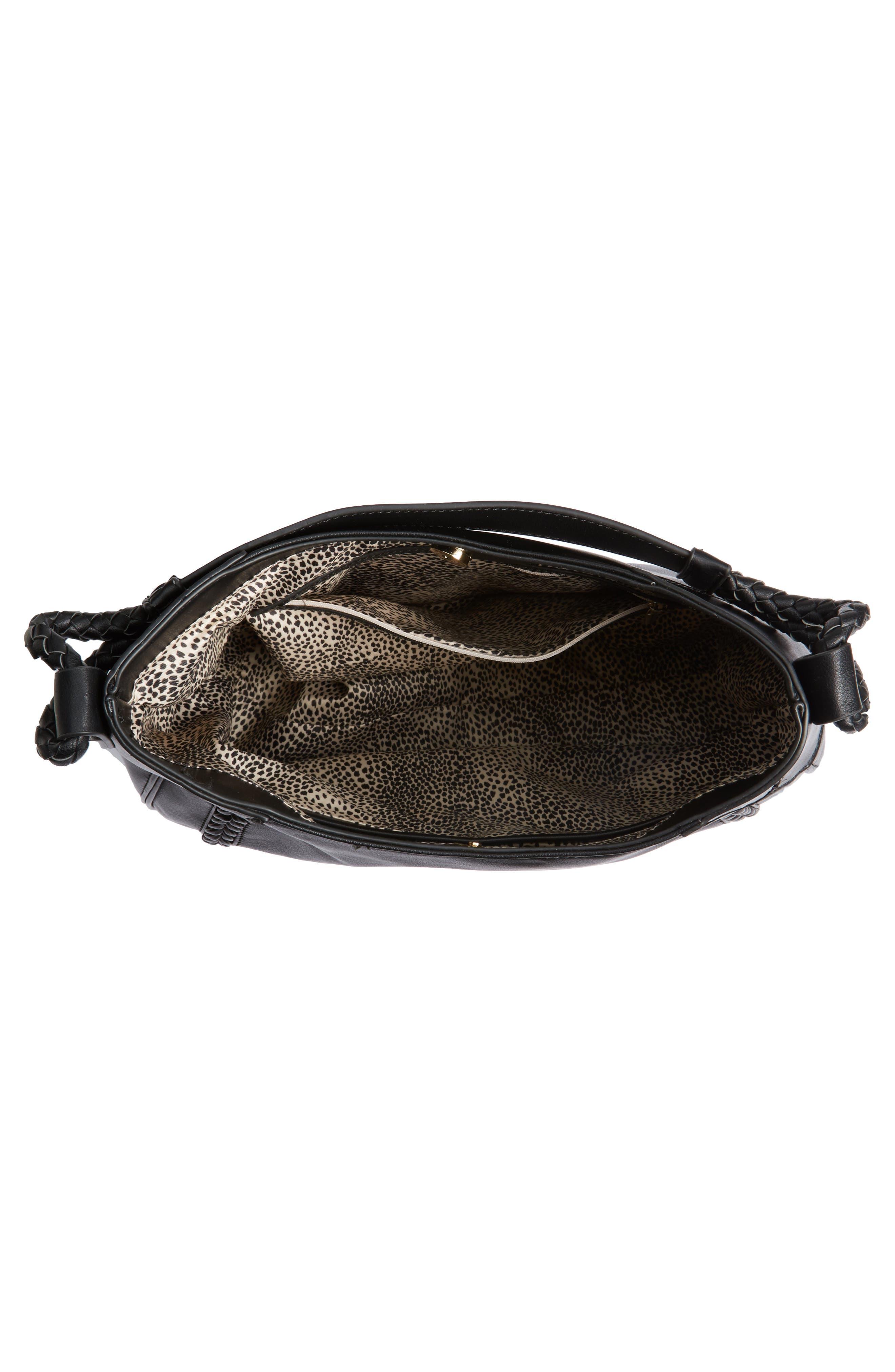 Rema Faux Leather Shoulder Bag,                             Alternate thumbnail 4, color,                             001
