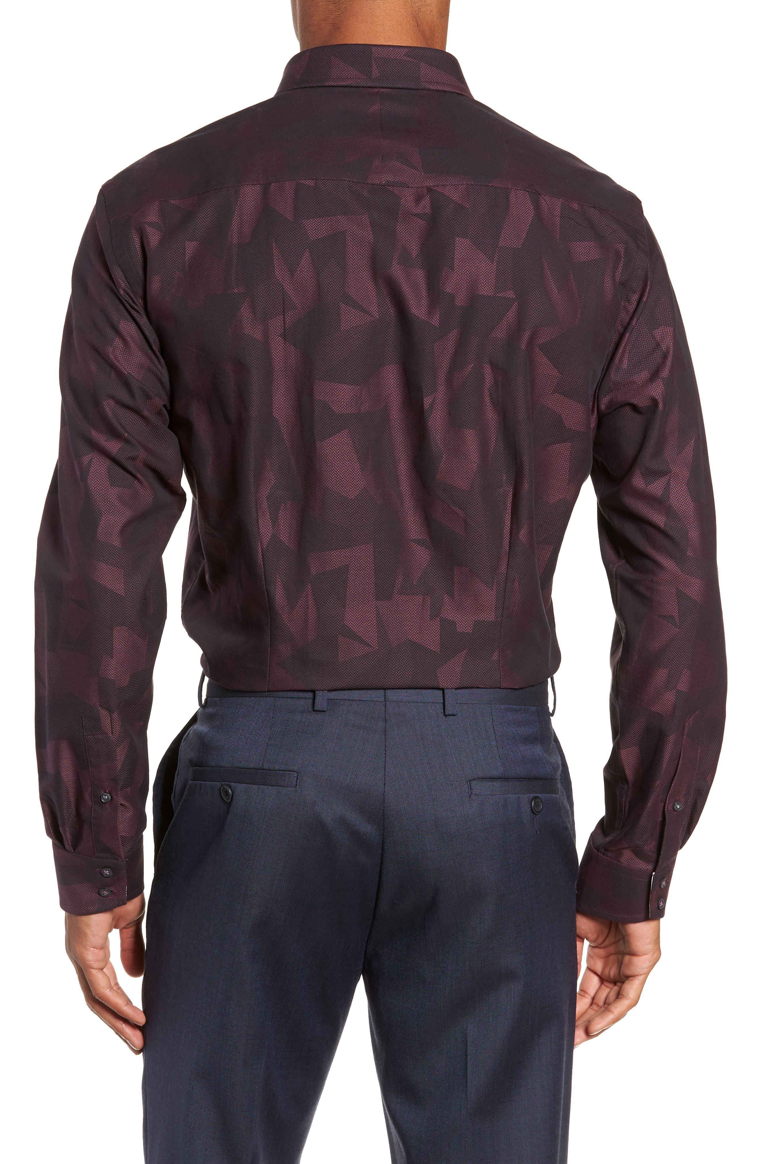 Slissum Slim Fit Print Dress Shirt,                             Alternate thumbnail 3, color,                             DARK RED