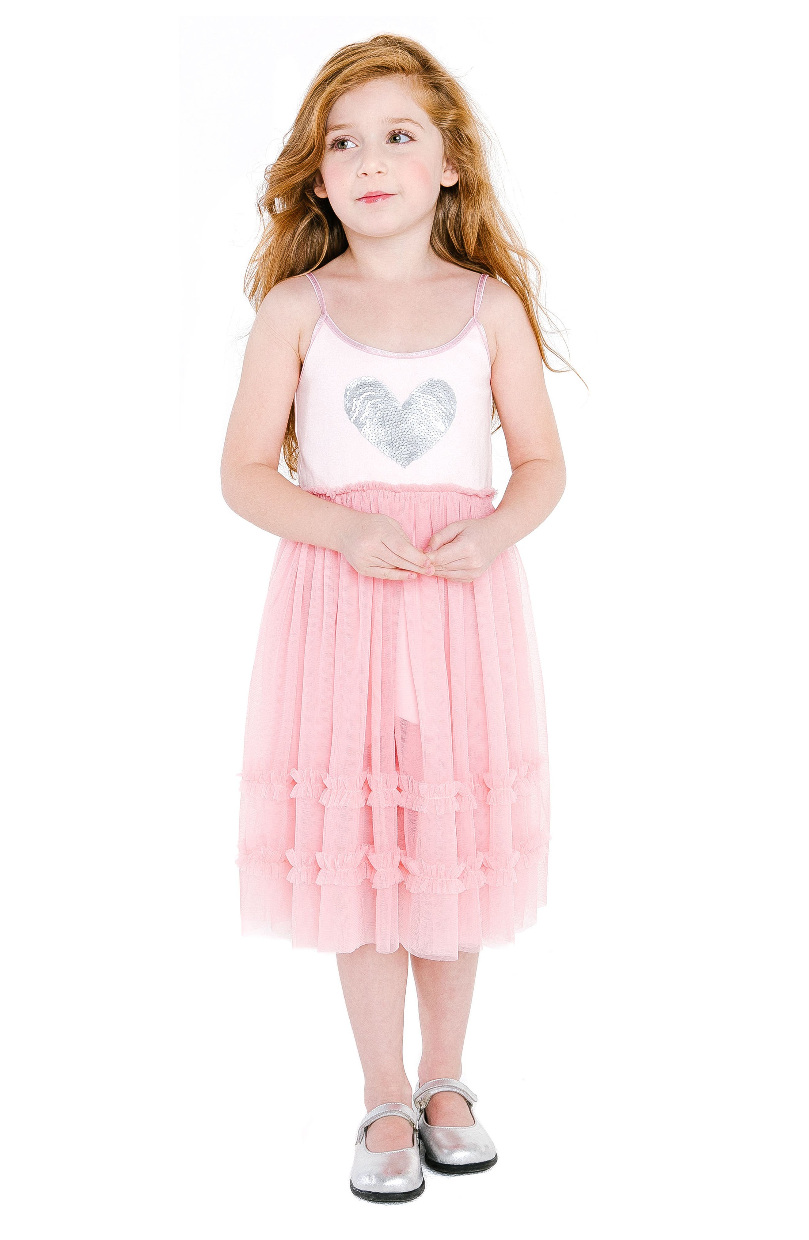 Sequin Heart Dress with Tulle Skirt,                             Alternate thumbnail 4, color,                             650