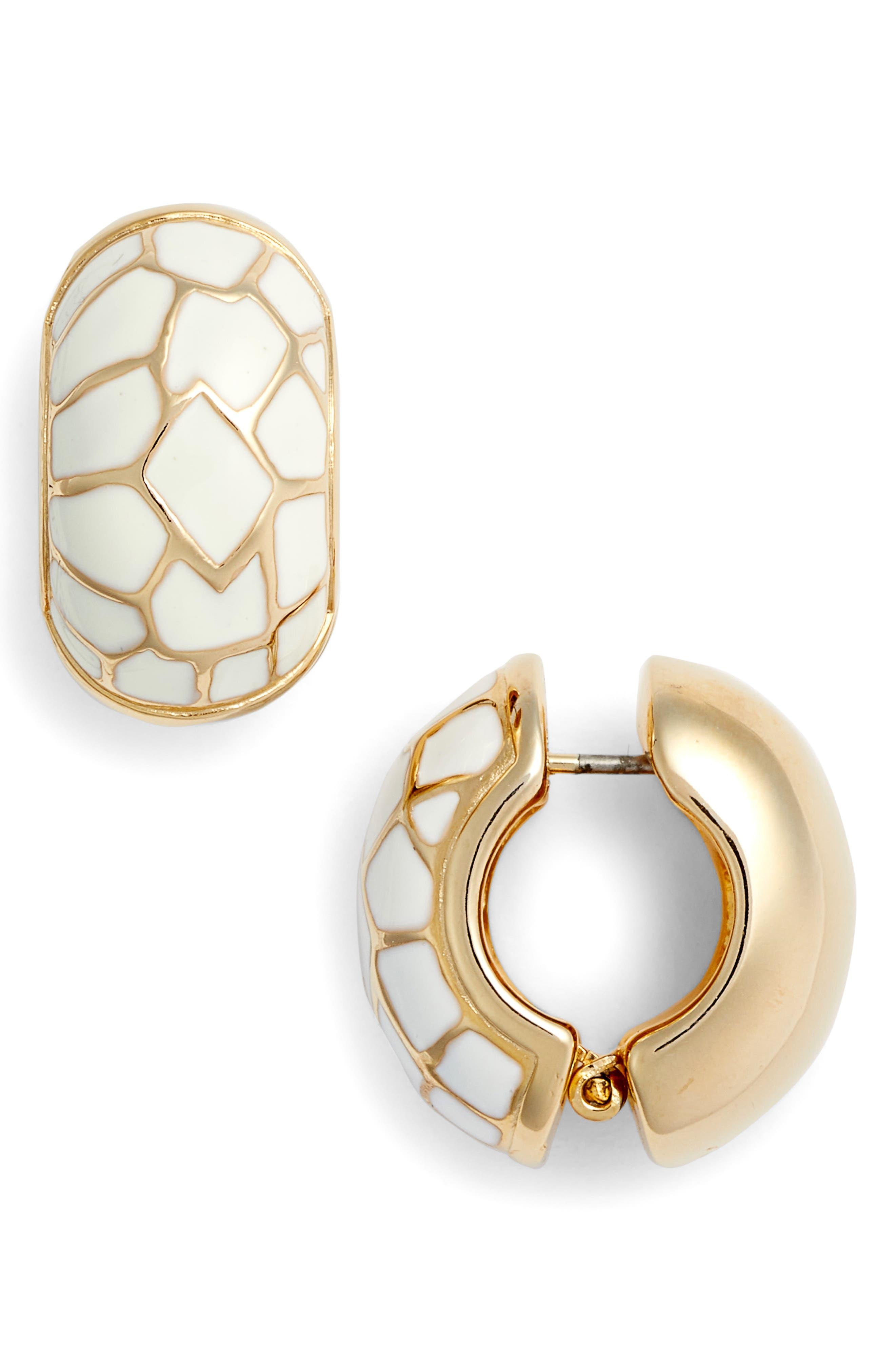 White Cobblestone Earrings,                         Main,                         color, WHITE