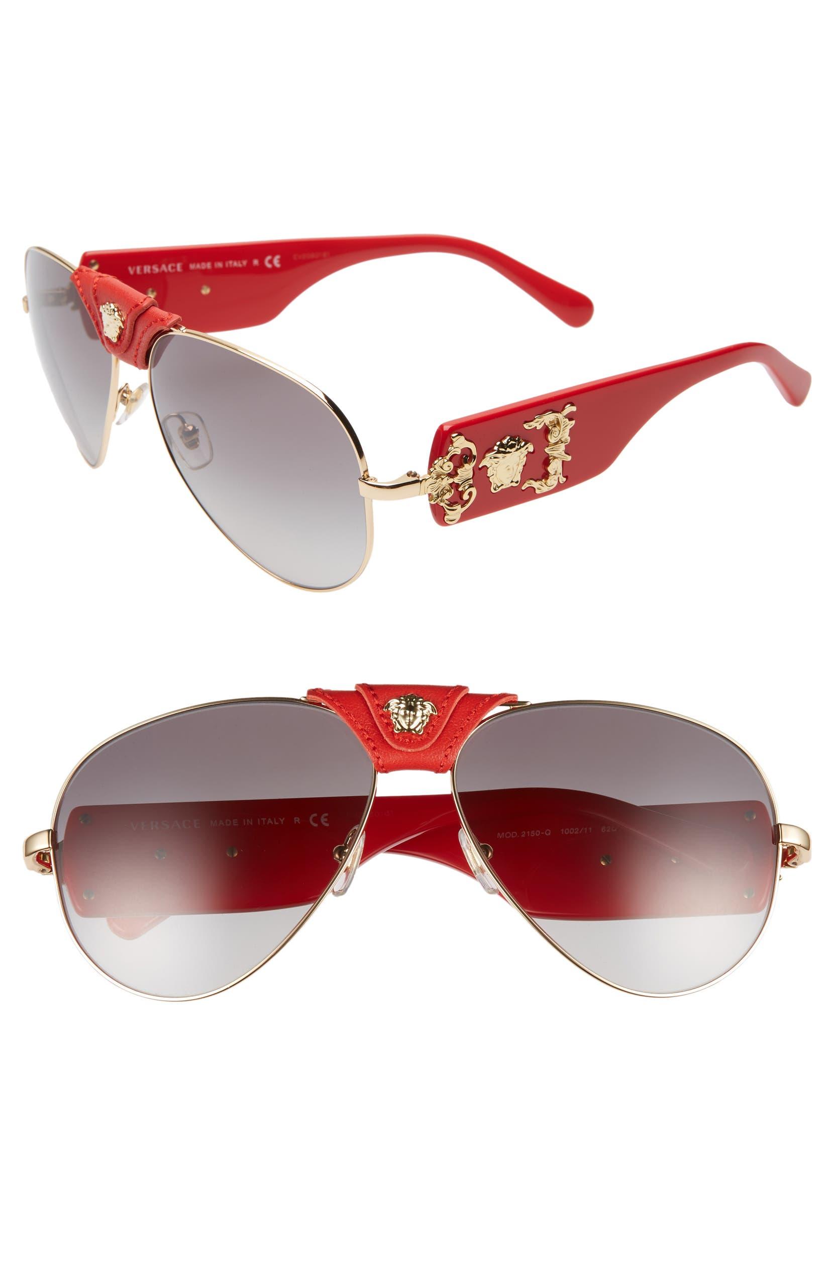 22b83d098e Versace Medusa 62mm Aviator Sunglasses