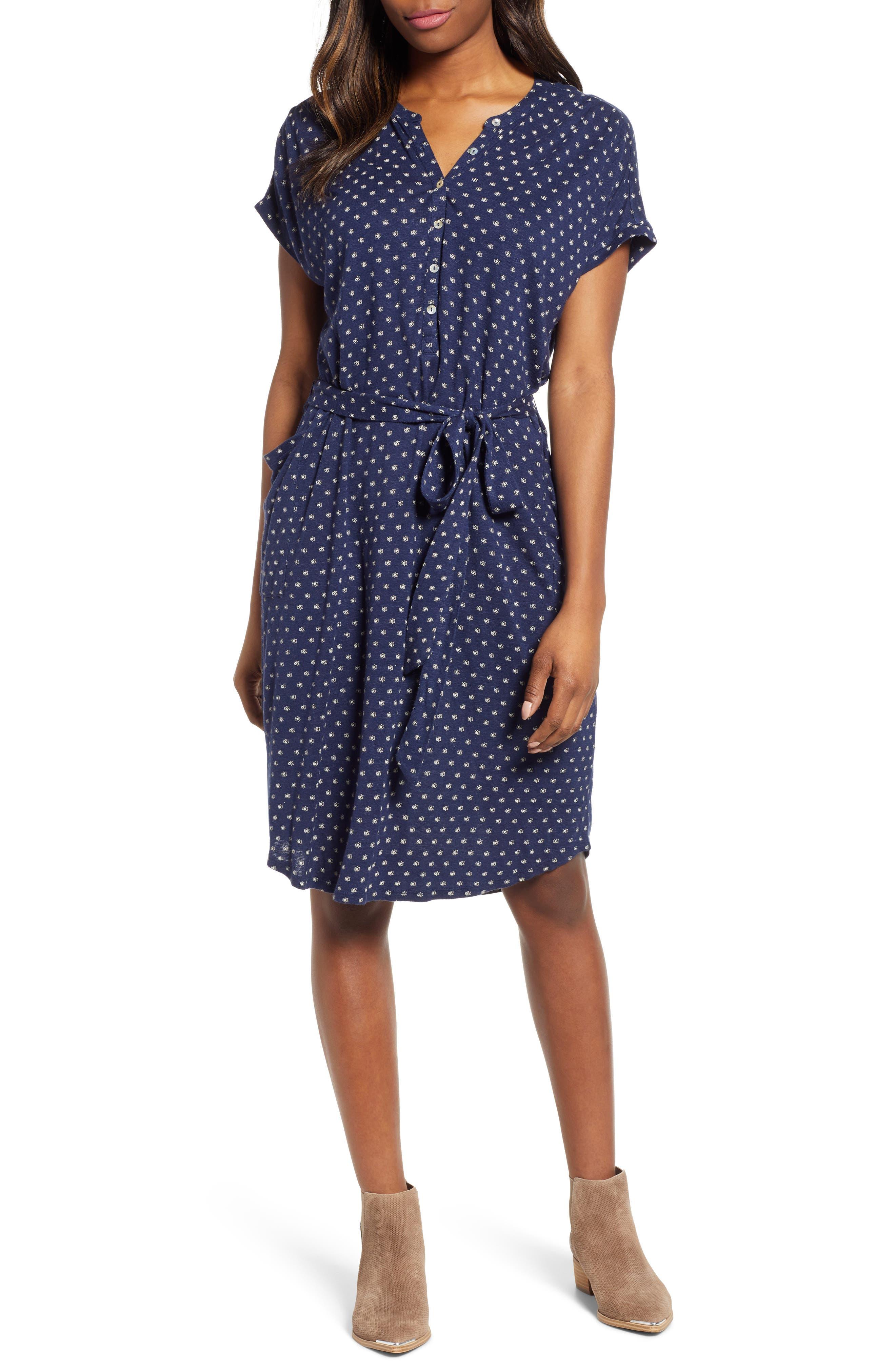 Lucky Brand Tie Waist Henley Dress, Blue