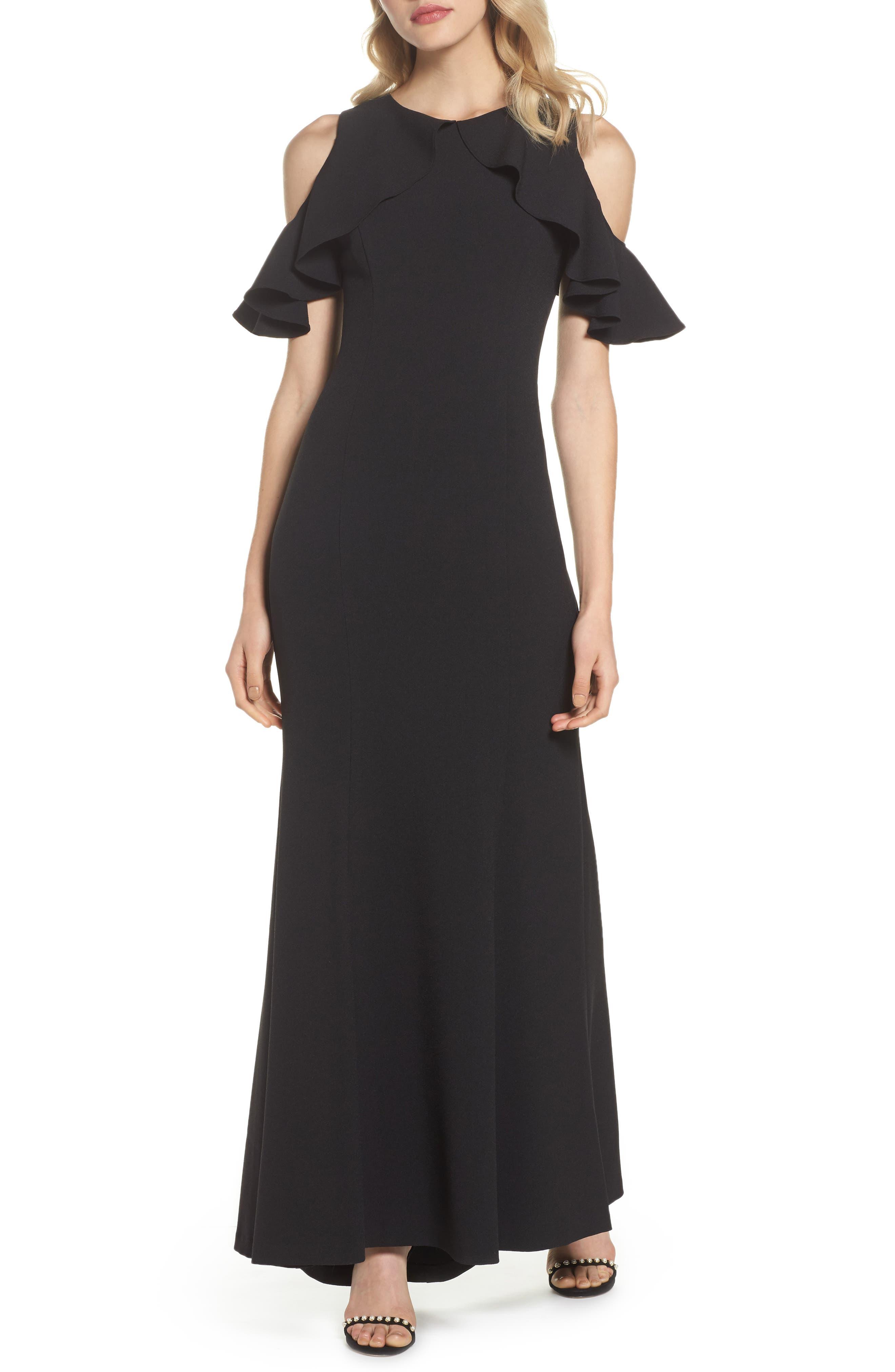 Ruffle Cold Shoulder Crepe Gown,                             Main thumbnail 1, color,                             001