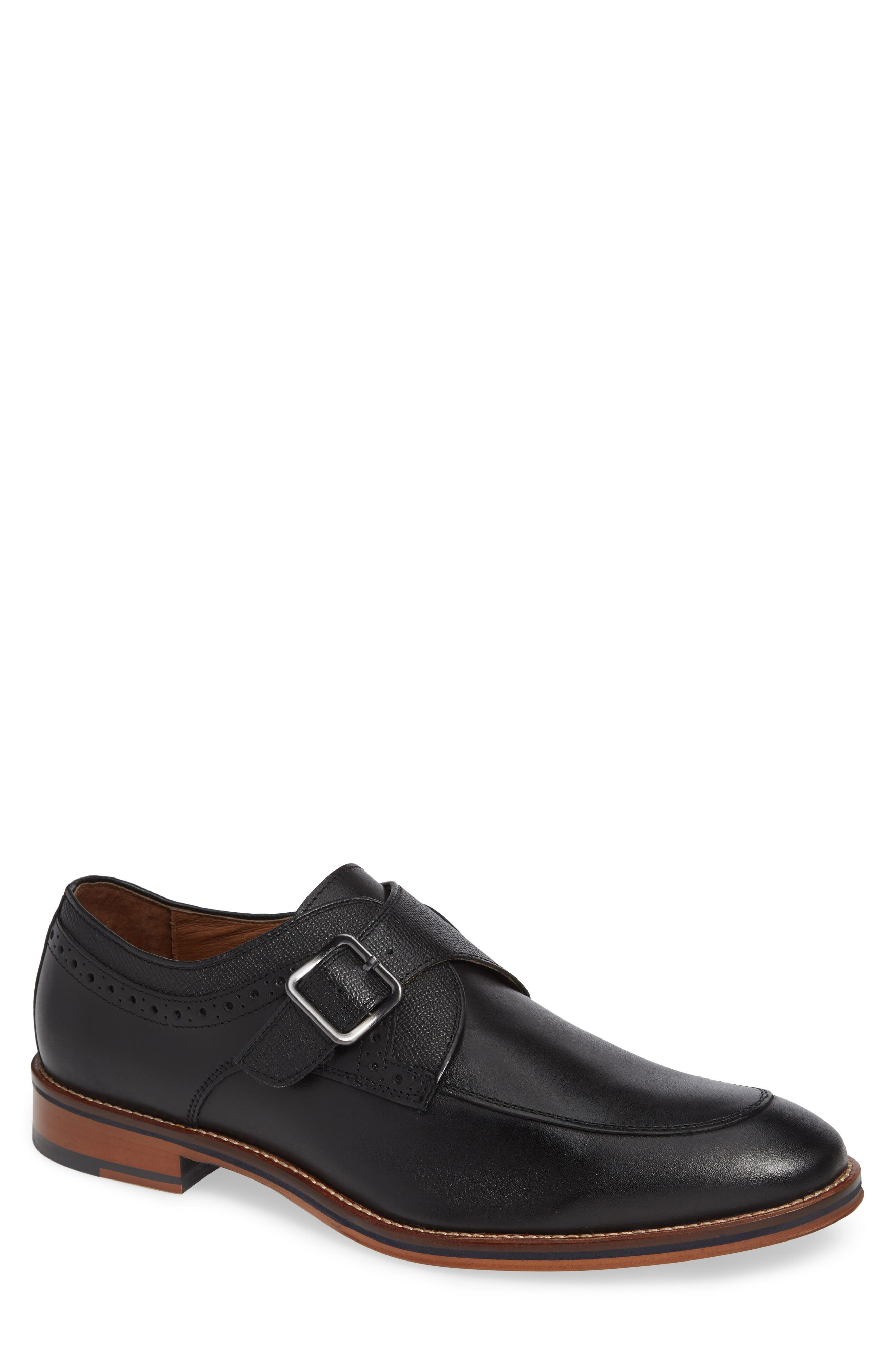 Conard Monk Strap Shoe,                             Main thumbnail 1, color,                             BLACK LEATHER