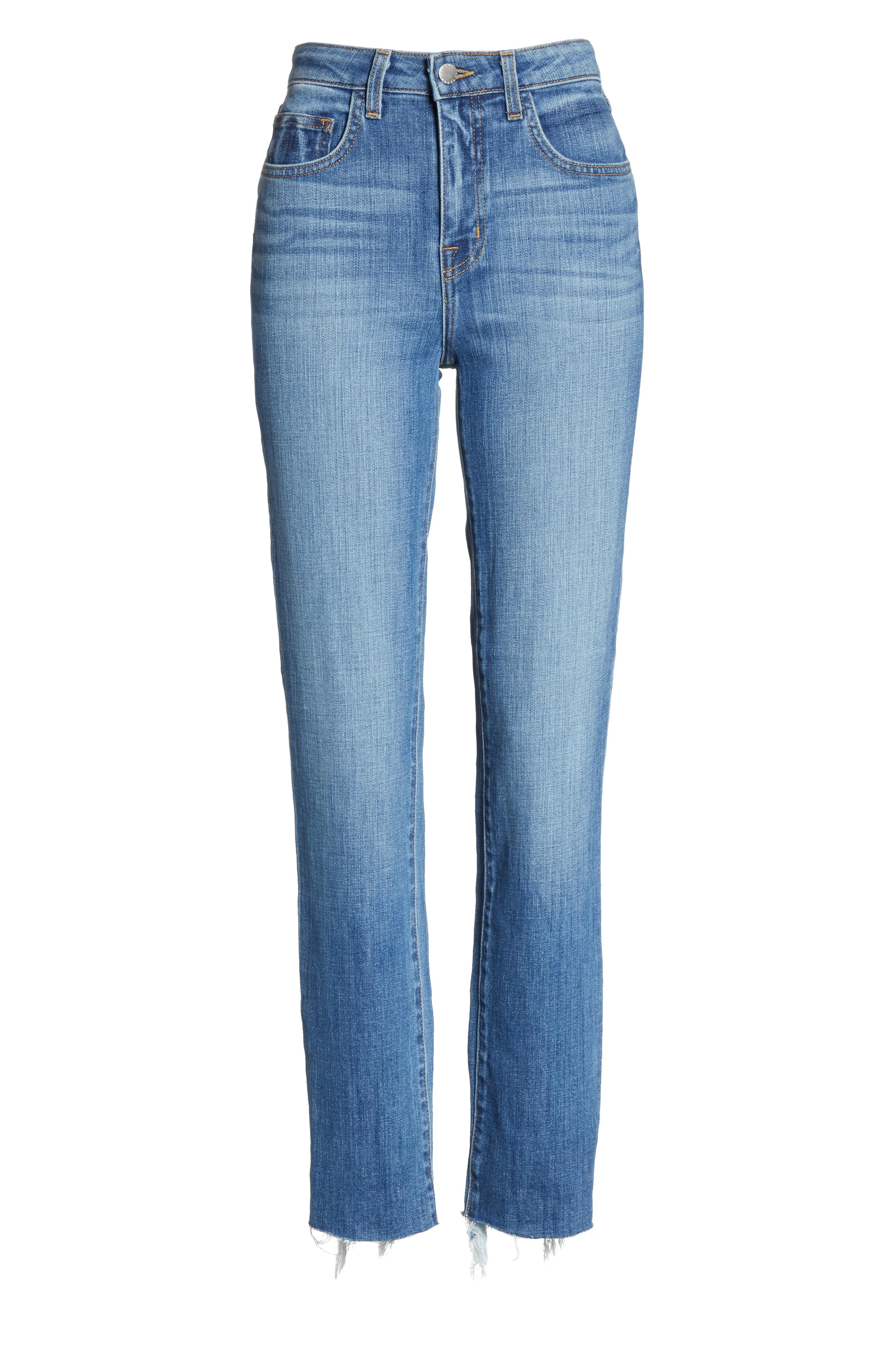Lorelei High Waist Slim Straight Jeans,                             Alternate thumbnail 7, color,                             450