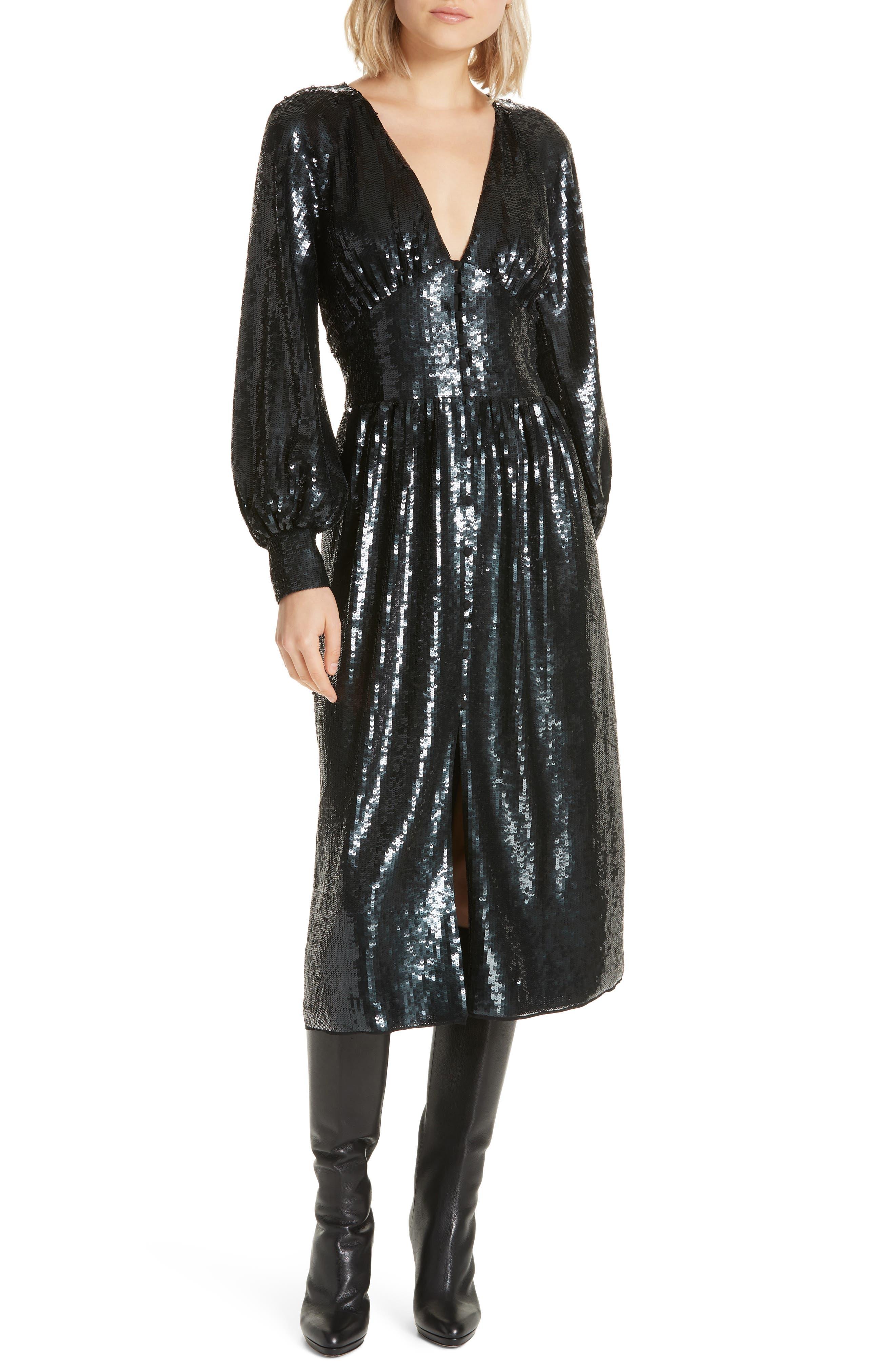 Kyria B Sequin Midi Dress,                             Main thumbnail 1, color,                             001