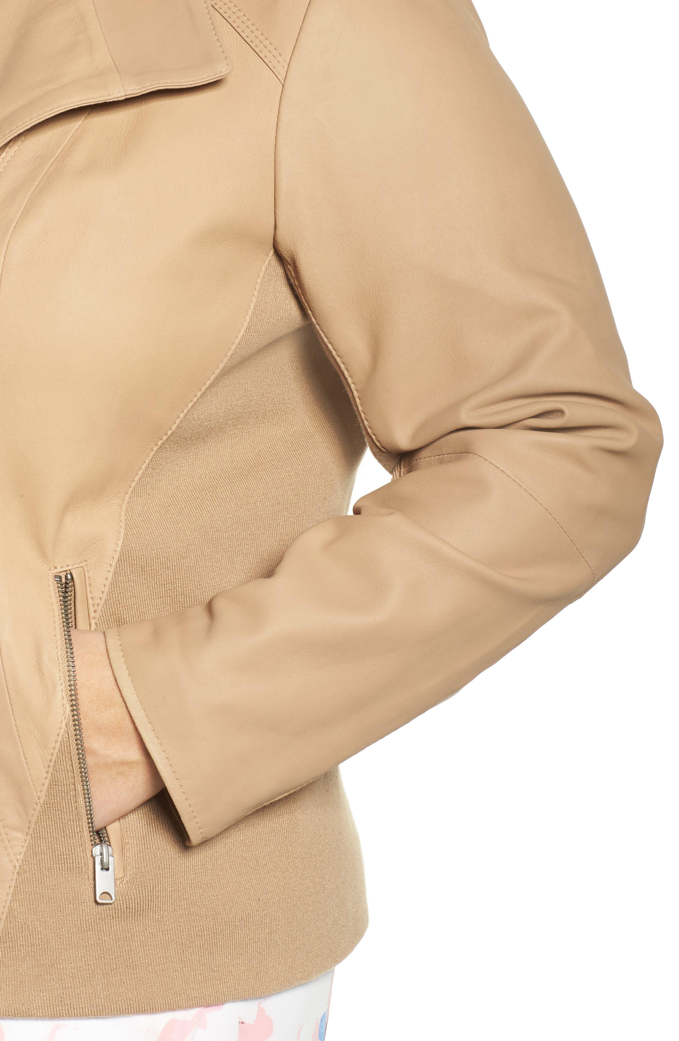 Felicia Leather Moto Jacket,                             Alternate thumbnail 4, color,