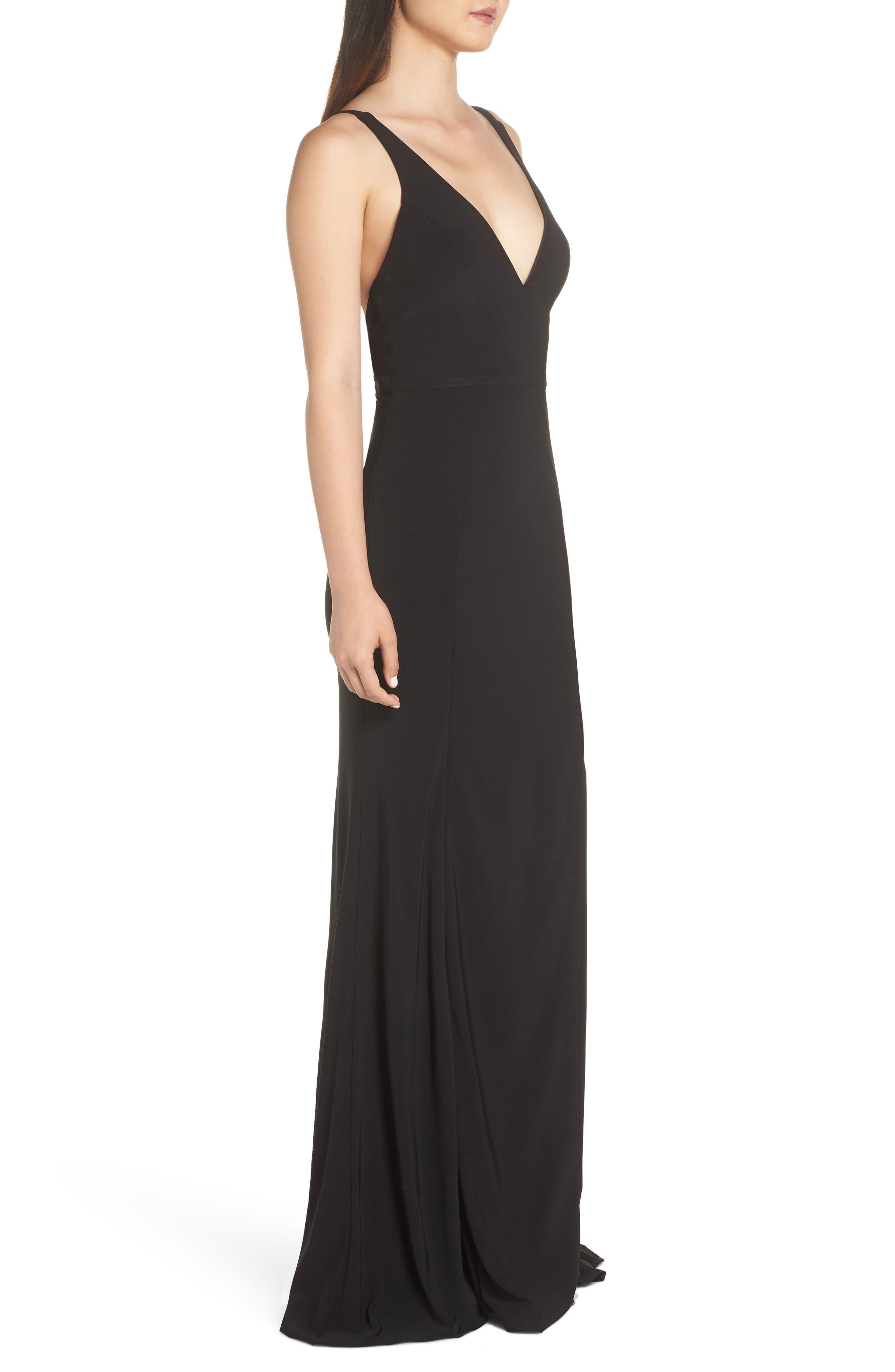Mac Duggal Plunge Neck Slit Jersey Gown,                             Alternate thumbnail 3, color,                             BLACK