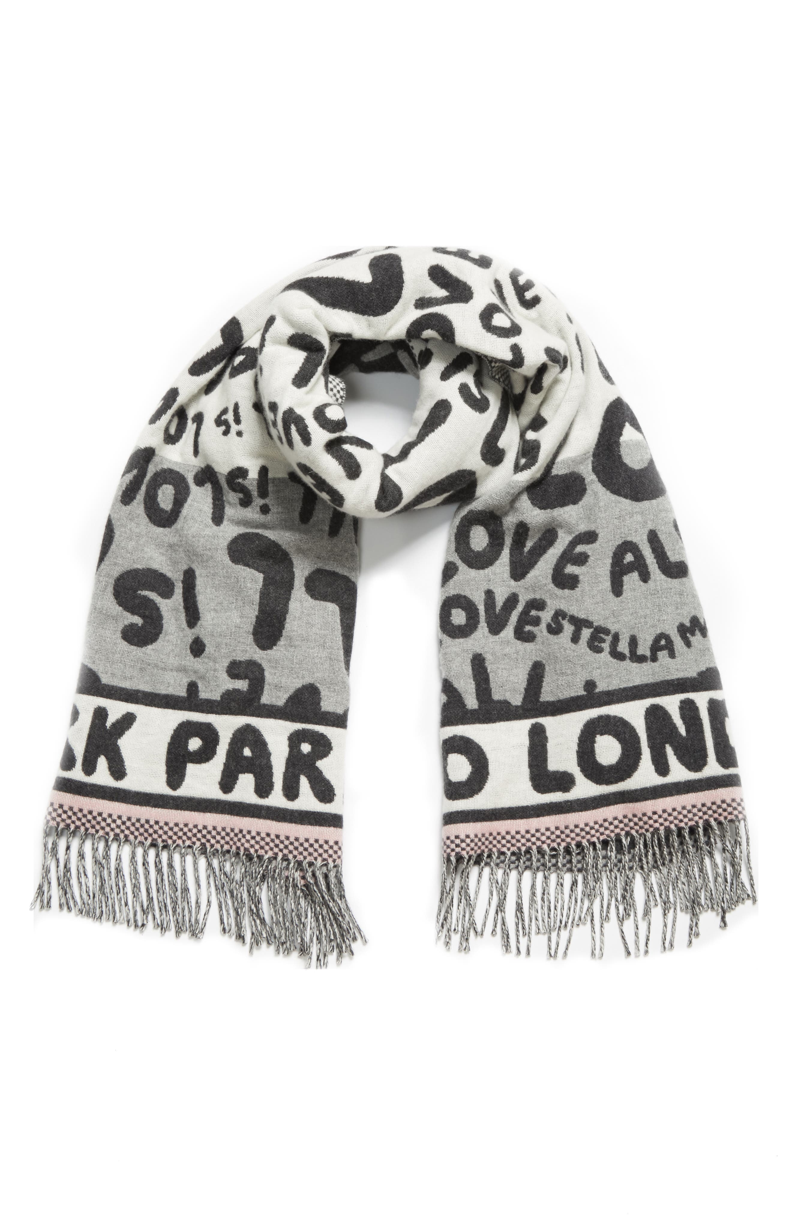STELLA MCCARTNEY,                             All Is Love Wool & Cashmere Scarf,                             Alternate thumbnail 3, color,                             GREY MELANGE