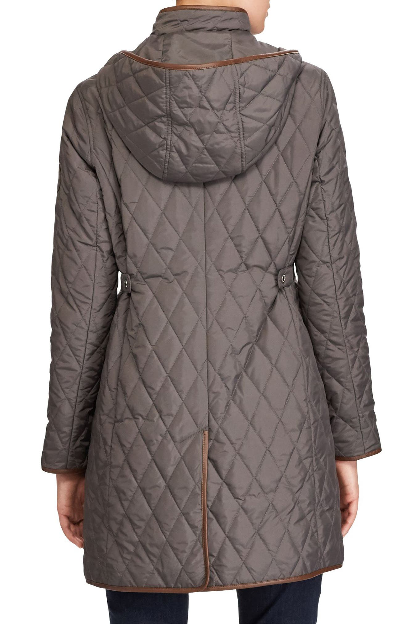 Faux Leather Trim Quilted Coat,                             Alternate thumbnail 2, color,                             113