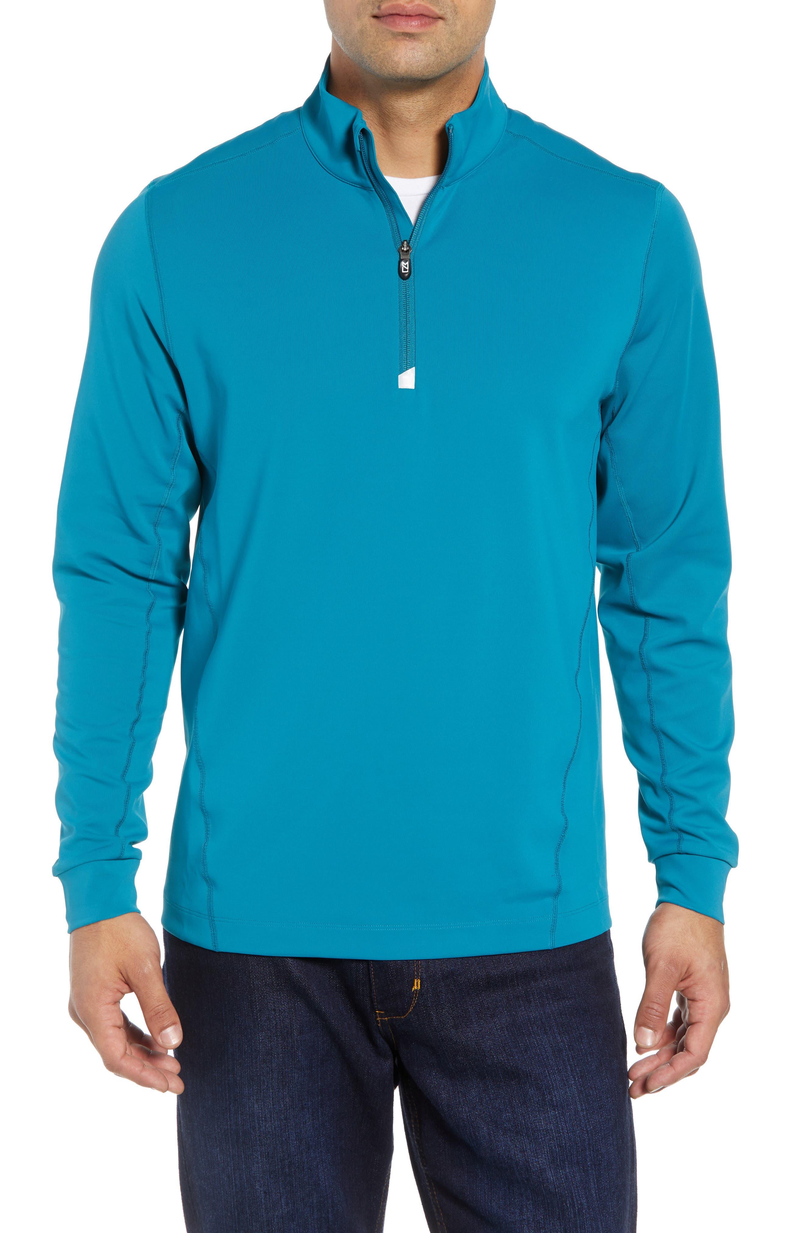 Traverse Regular Fit Quarter Zip Pullover,                         Main,                         color, TEAL BLUE