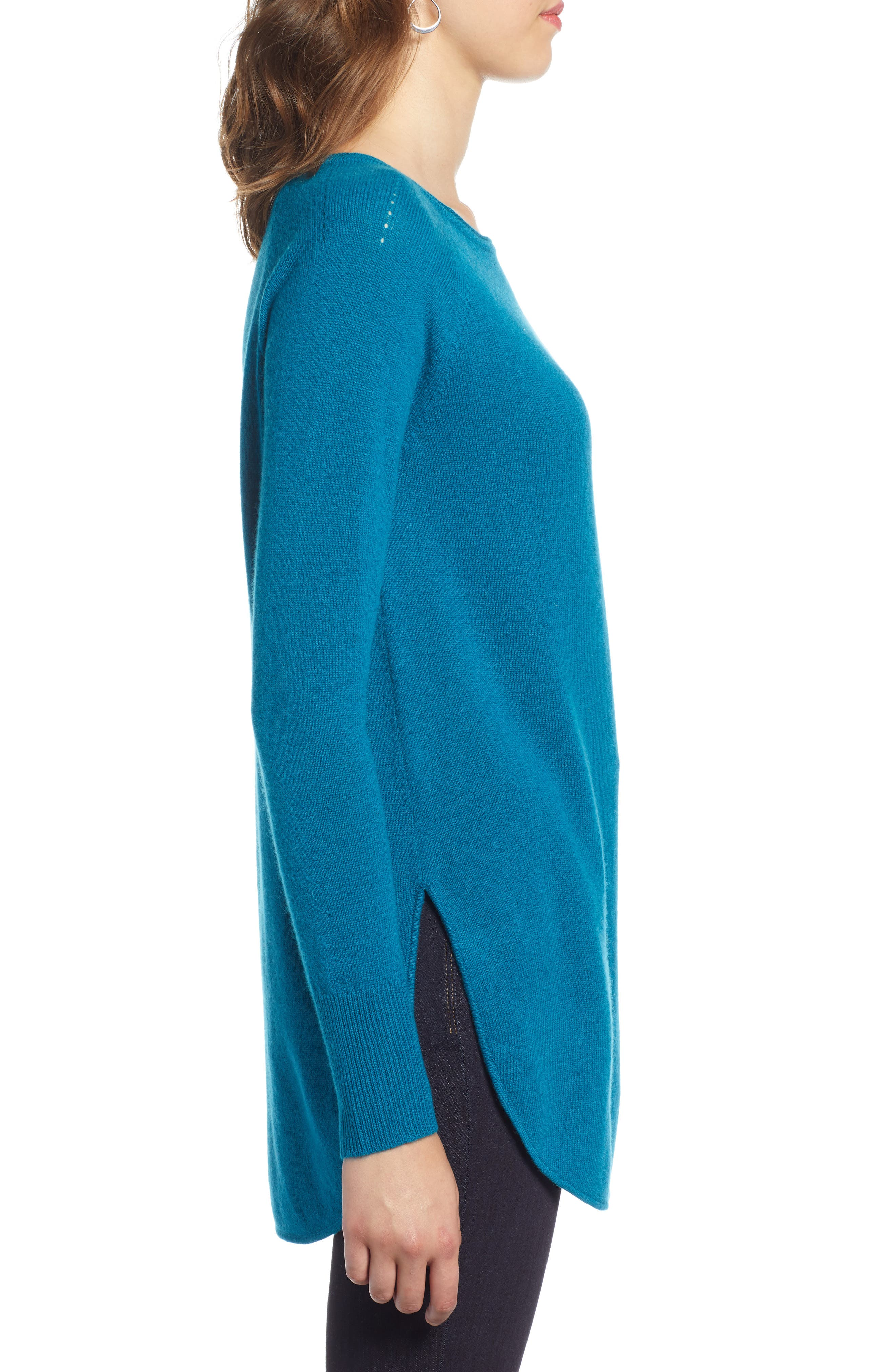 Shirttail Wool & Cashmere Boatneck Tunic,                             Alternate thumbnail 3, color,                             TEAL GLOSS