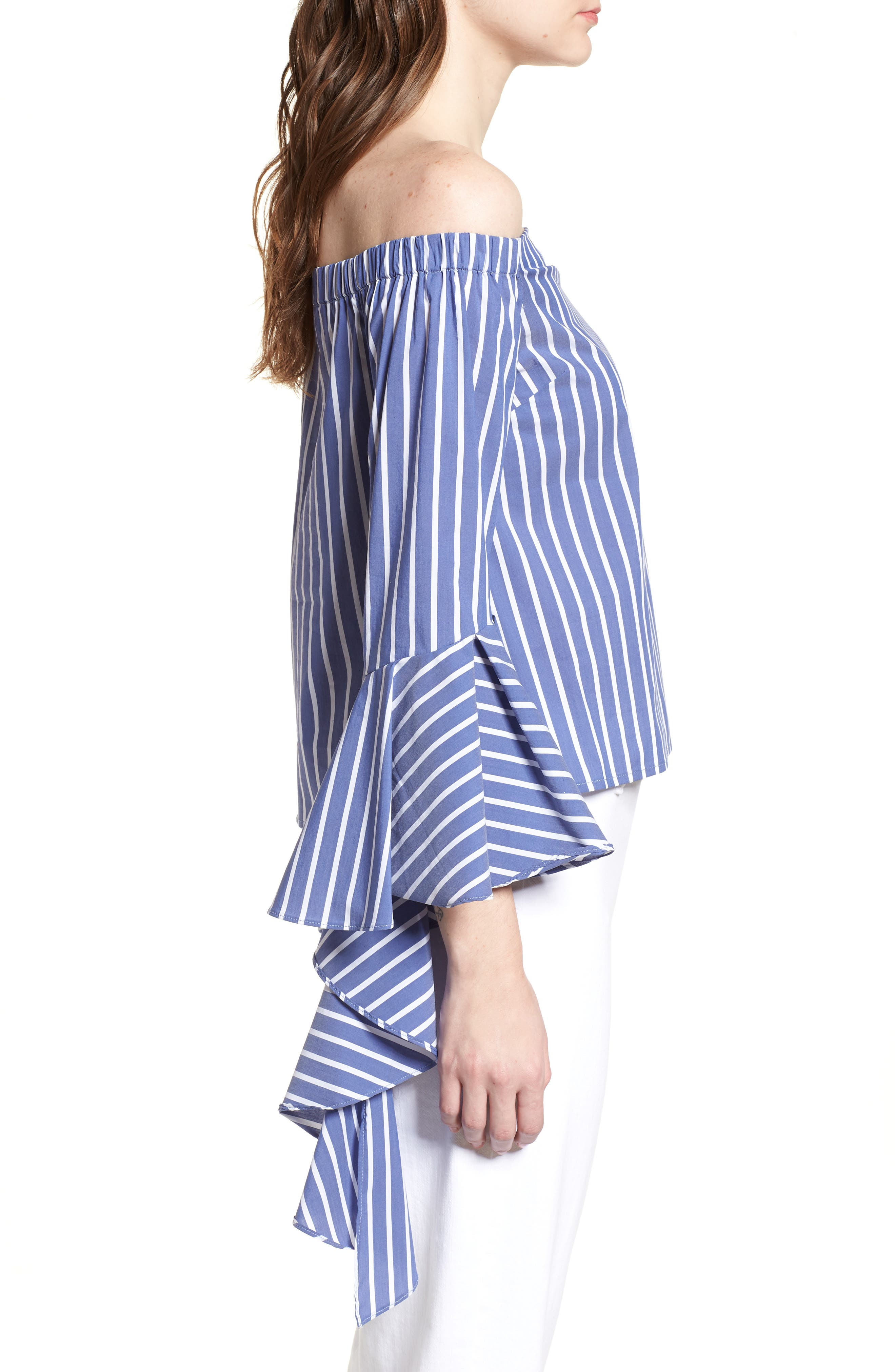 Bishop + Young Gigi Ruffle Sleeve Off the Shoulder Top,                             Alternate thumbnail 3, color,                             BLUE WHITE STRIPE